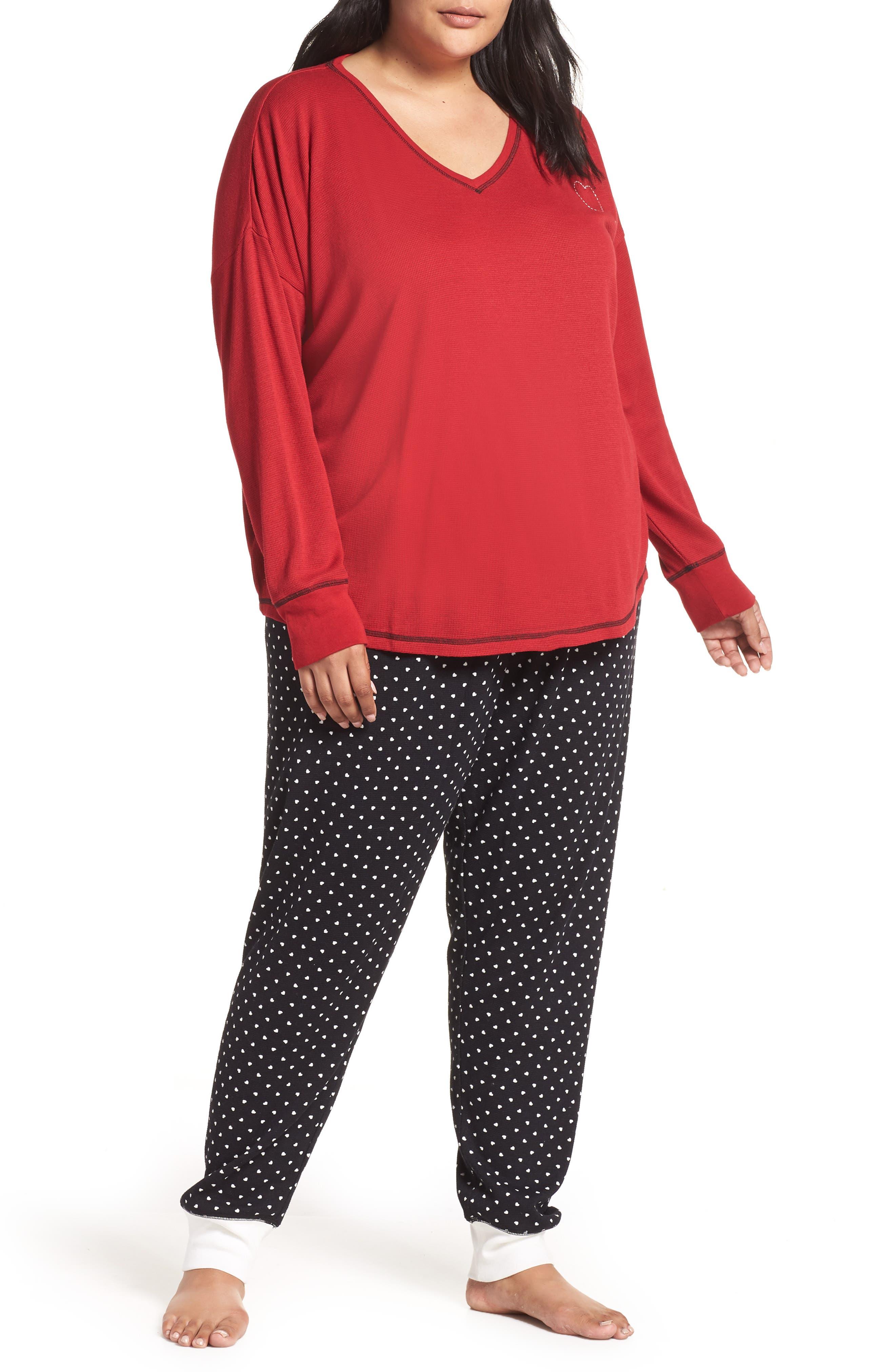 Thermal Pajamas,                             Main thumbnail 1, color,                             BLACK