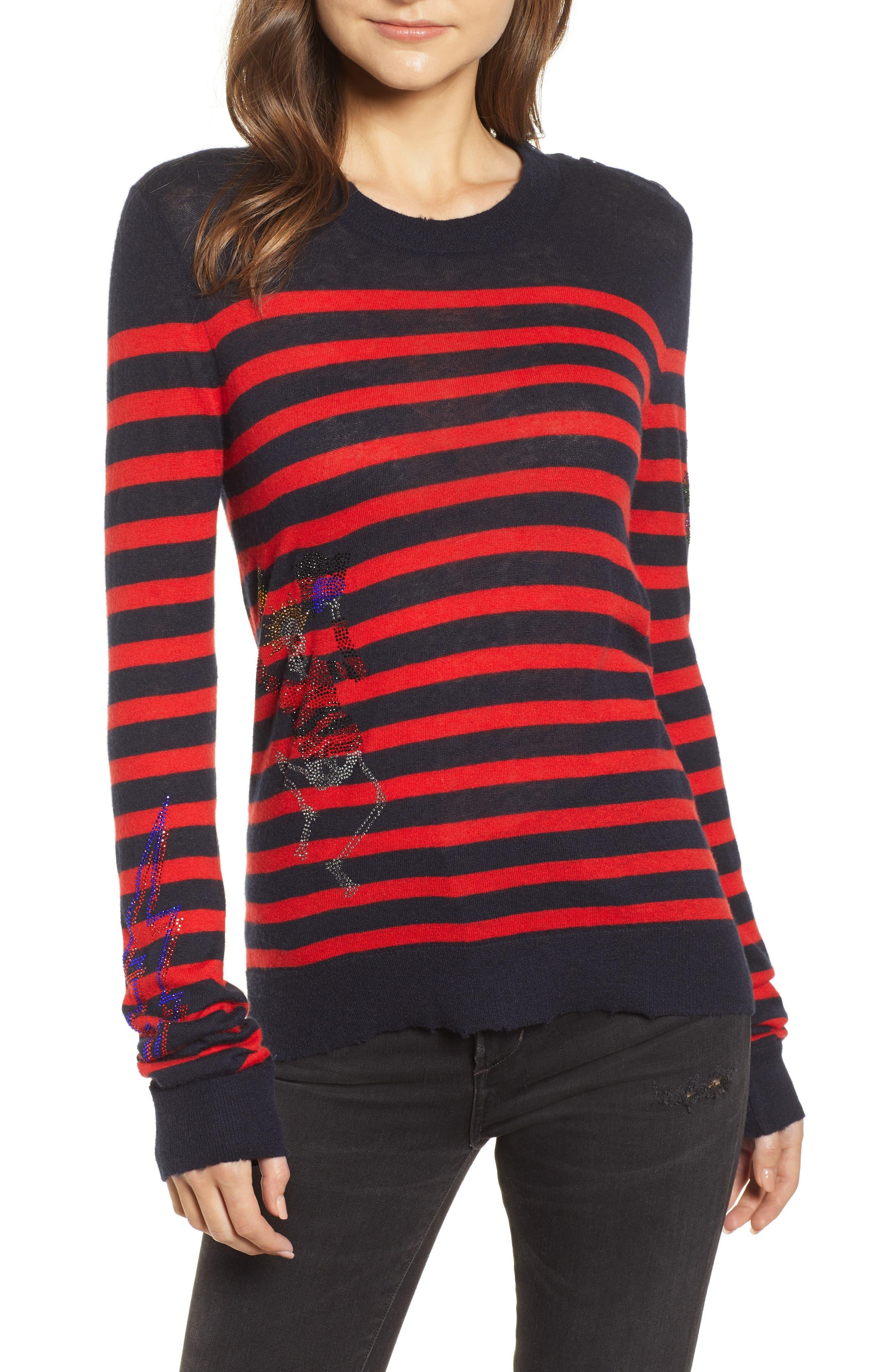 Delly Bis Cashmere Sweater,                             Main thumbnail 1, color,                             ENCRE/ ROUGE