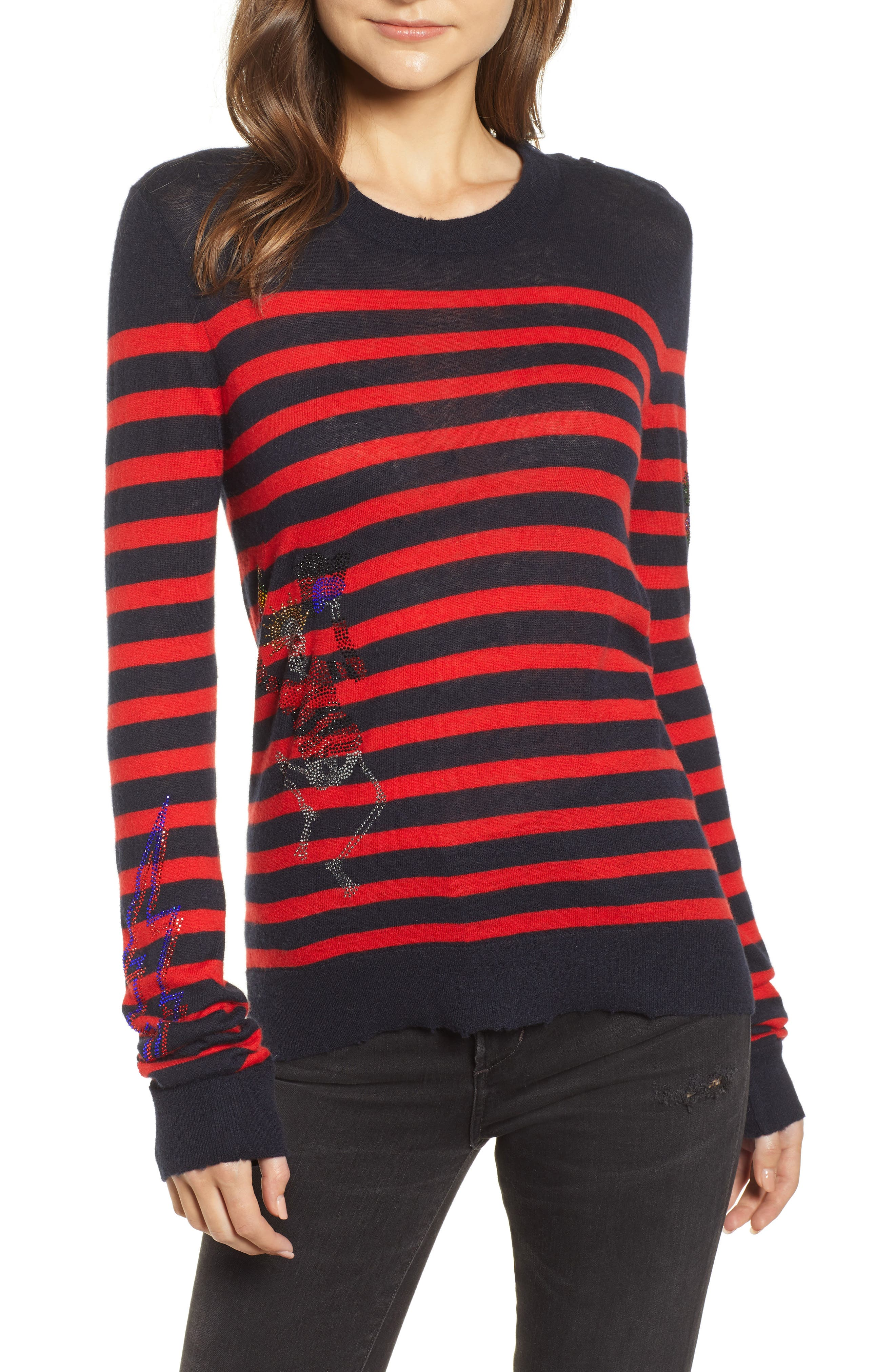 Delly Bis Cashmere Sweater,                         Main,                         color, ENCRE/ ROUGE