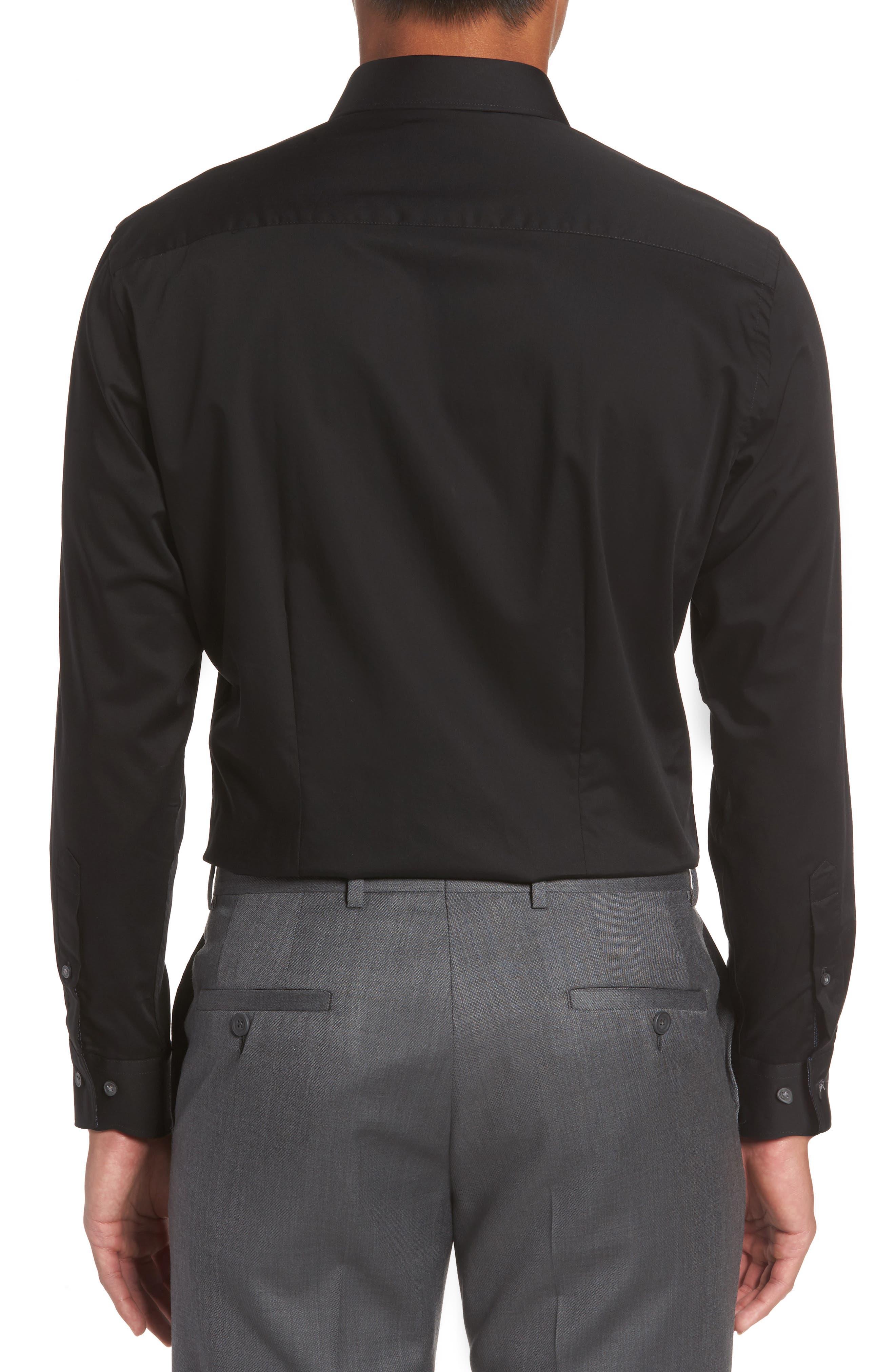 Caramor Trim Fit Solid Dress Shirt,                             Alternate thumbnail 2, color,                             BLACK