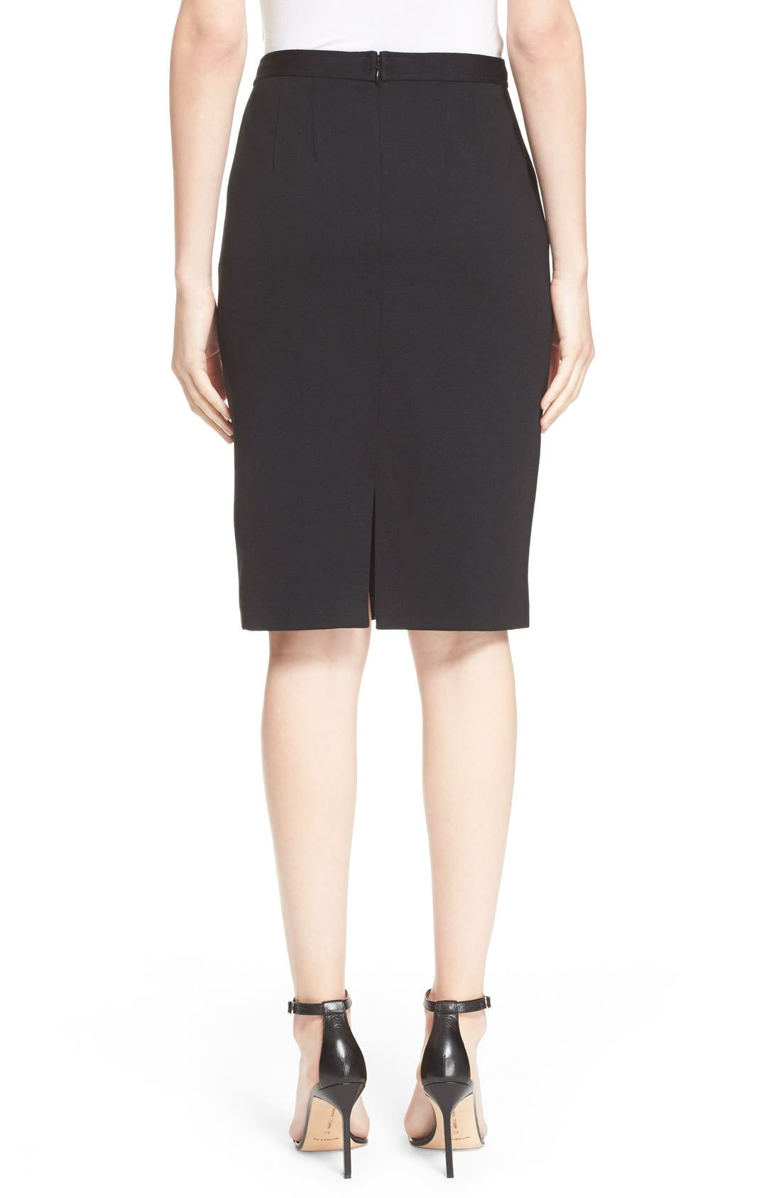 Milano Knit Pencil Skirt,                             Alternate thumbnail 3, color,                             CAVIAR