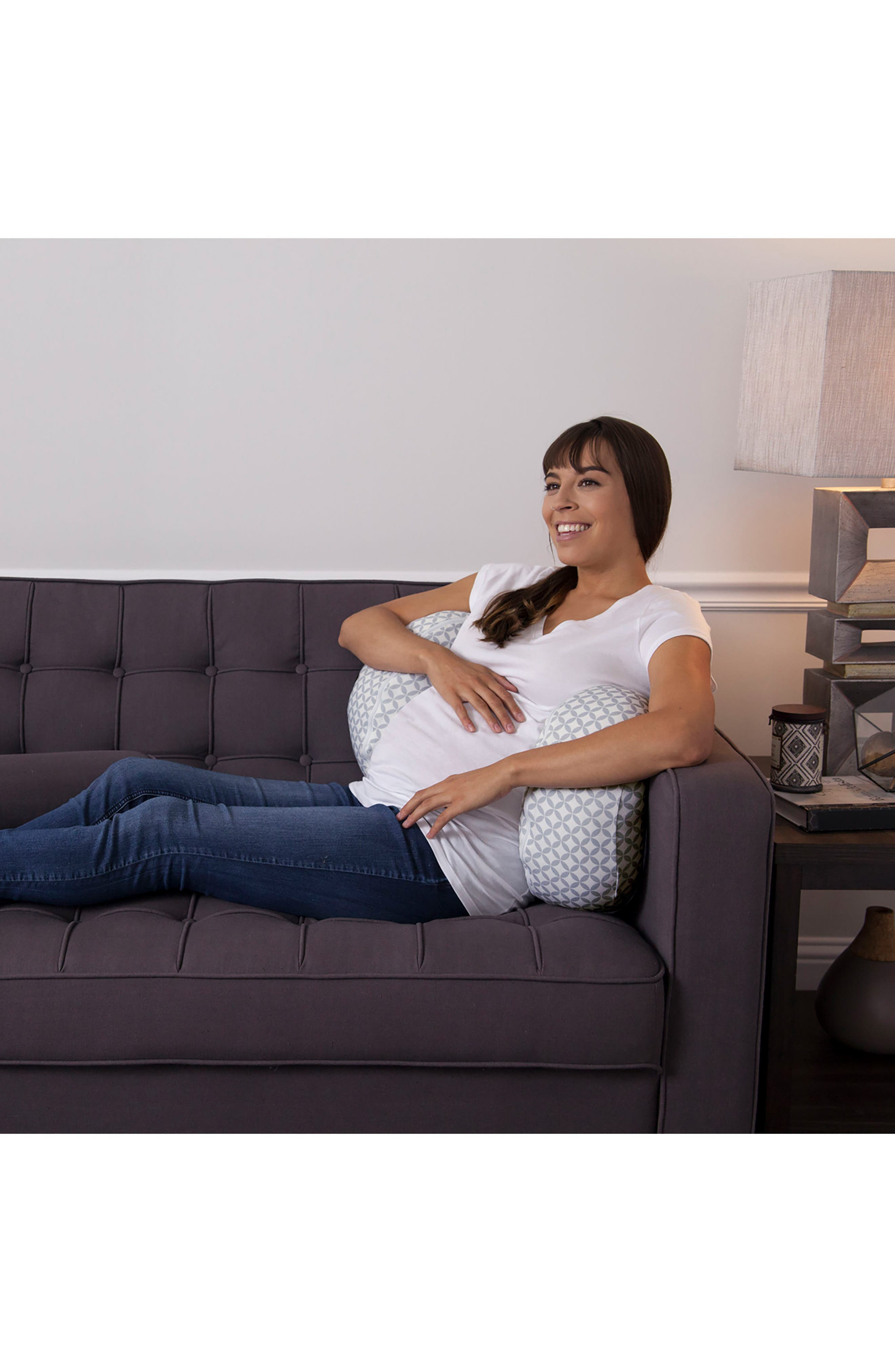 Bump & Back Support Pillow,                             Alternate thumbnail 5, color,                             WHITE/ GREY GEO