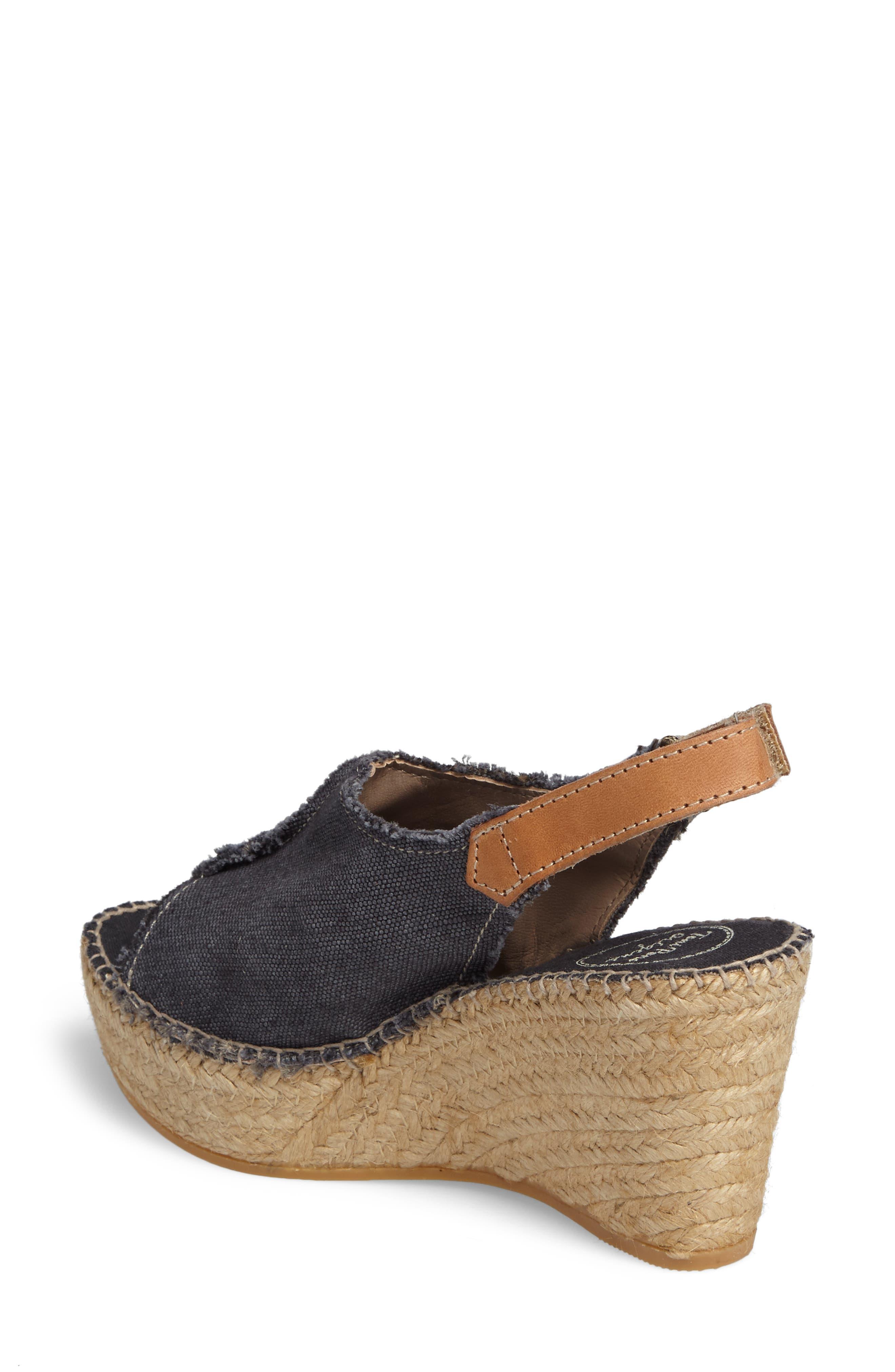 'Lugano' Espadrille Wedge Sandal,                             Alternate thumbnail 2, color,                             BLACK FABRIC