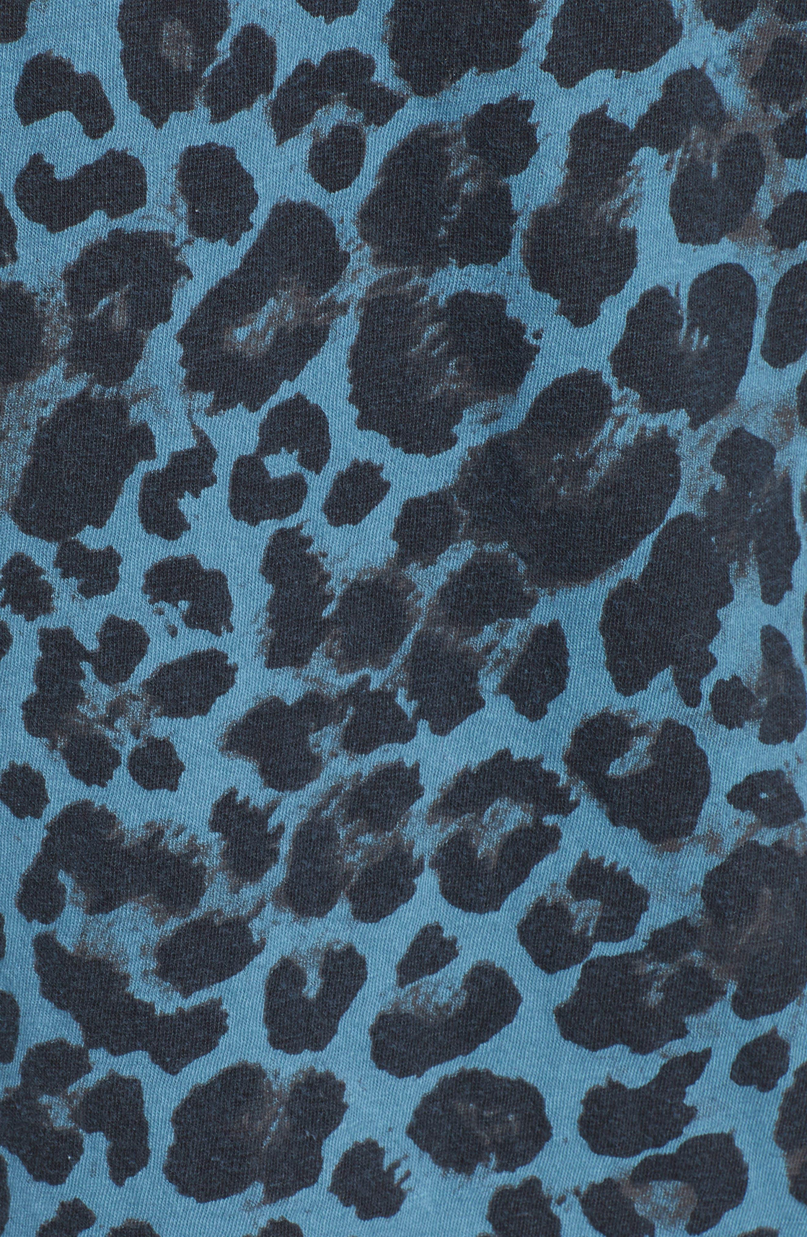 Leopard Print Cutout Tee,                             Alternate thumbnail 5, color,                             BLUE LEOPARD PRINT