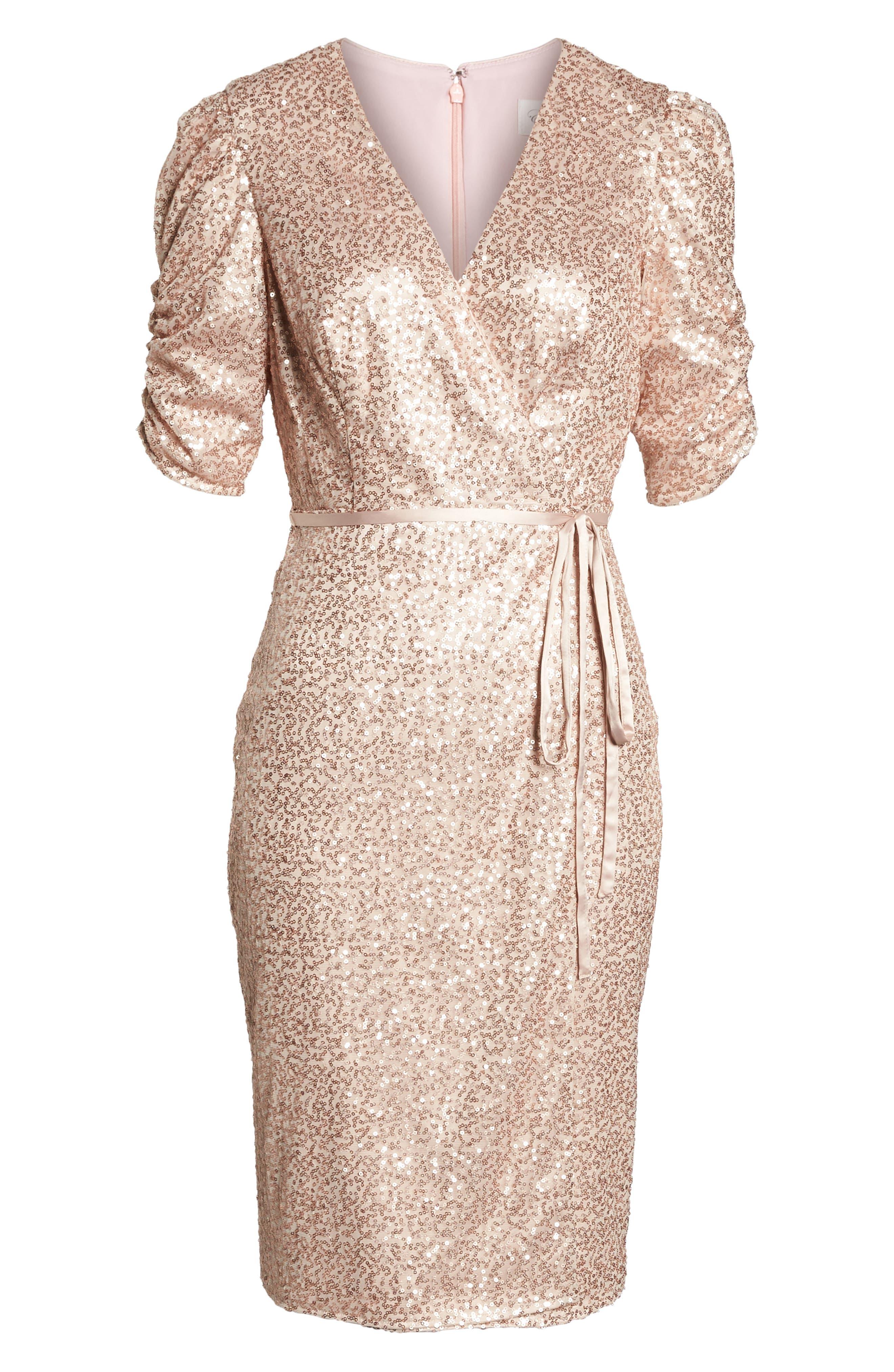 Sequin Faux Wrap Dress,                             Alternate thumbnail 7, color,                             NUDE
