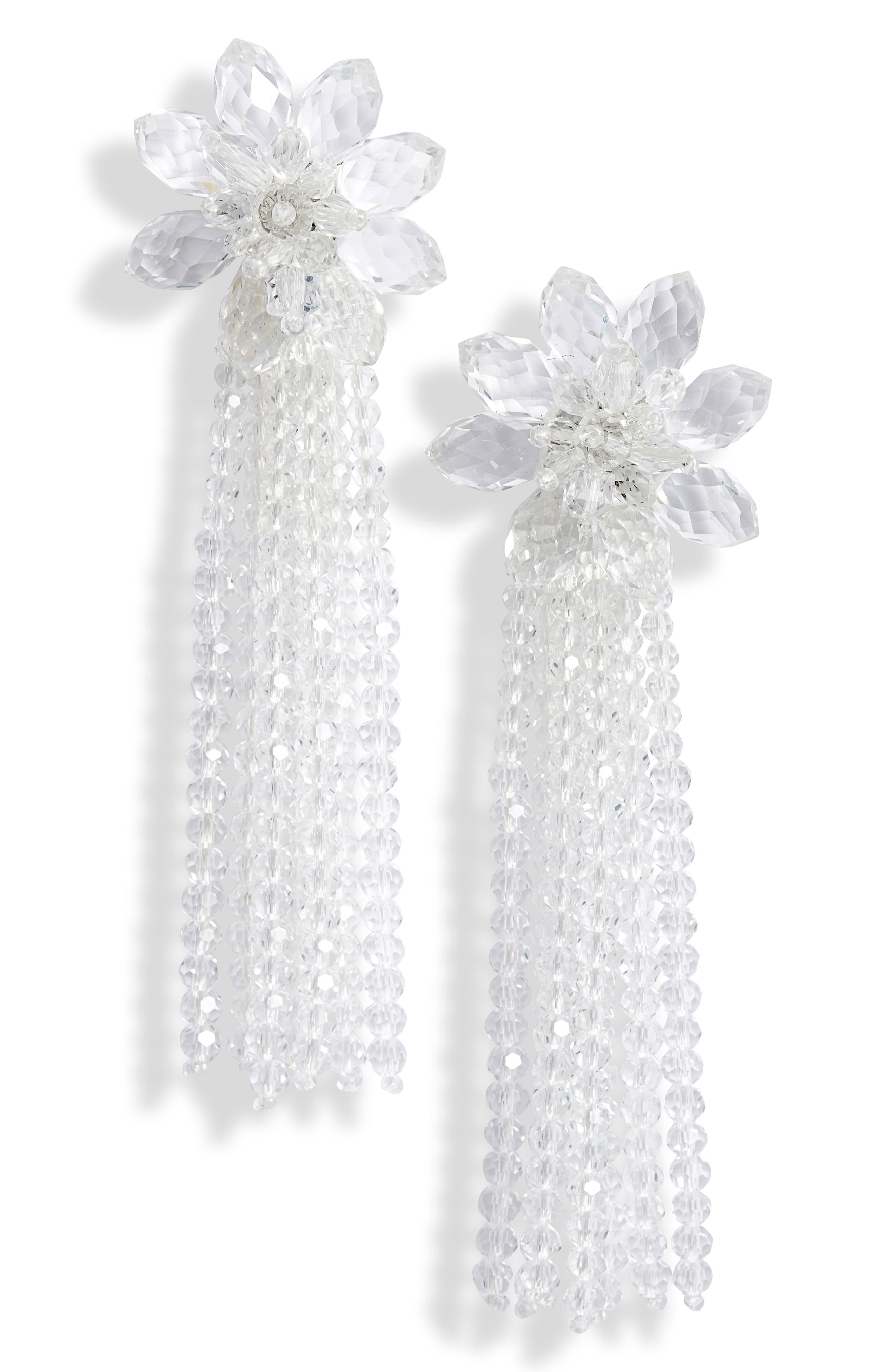 KATE SPADE NEW YORK statement crystal tassel drop earrings, Main, color, CLEAR