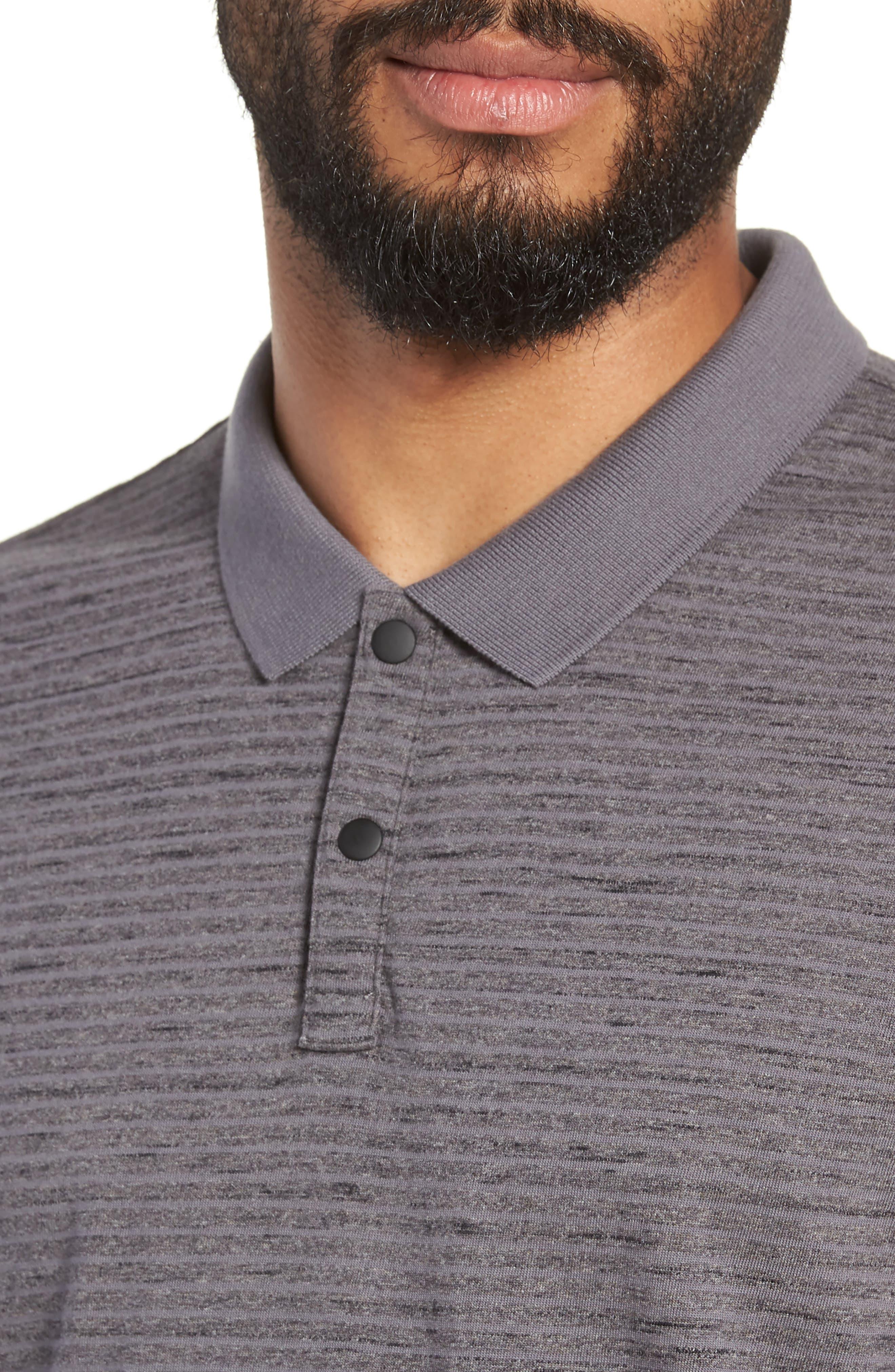 Mélange Stripe Jersey Polo,                             Alternate thumbnail 4, color,                             GREY TORNADO