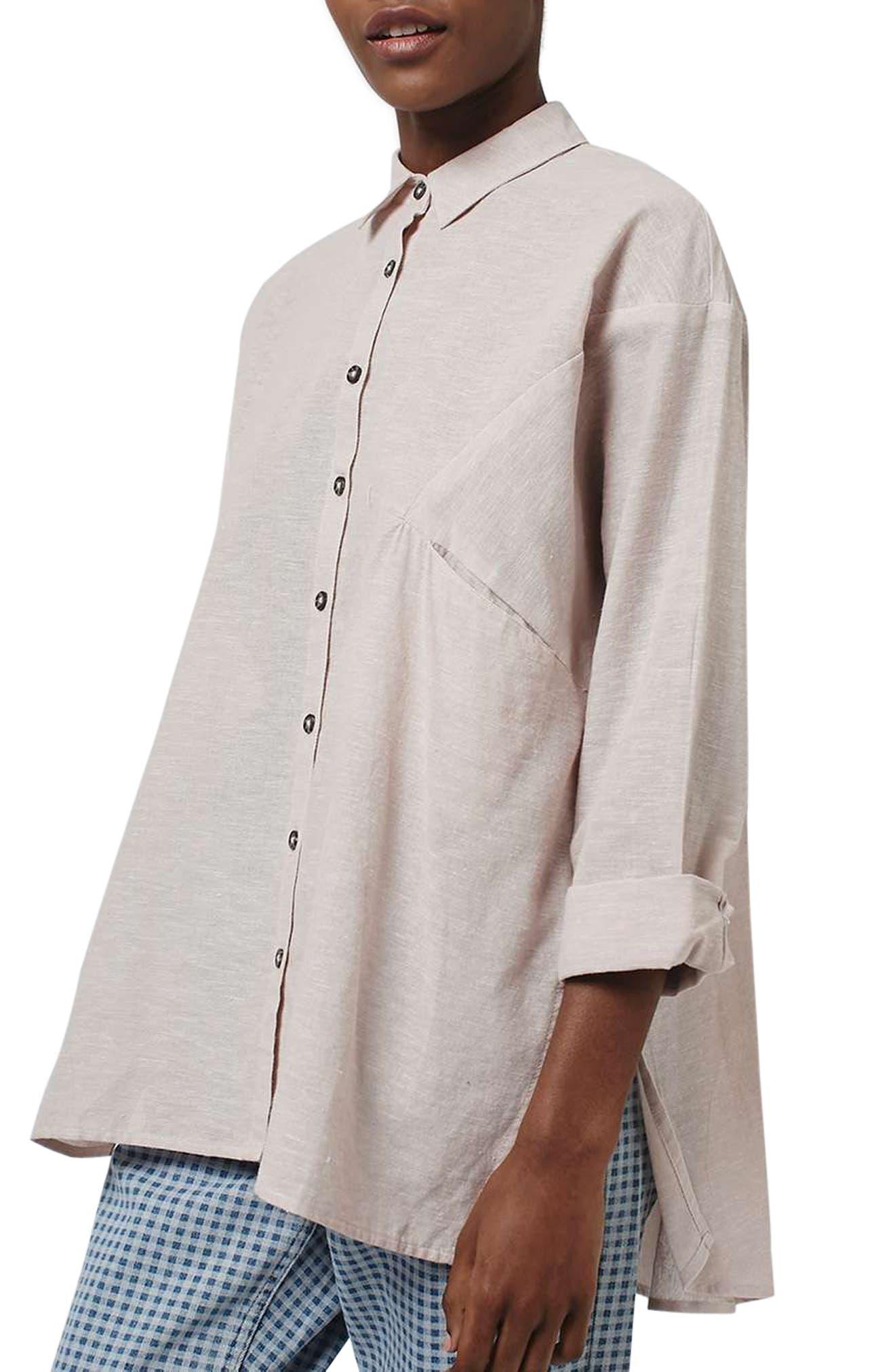 'Ivy' Oversize Chambray Shirt,                             Alternate thumbnail 3, color,                             680