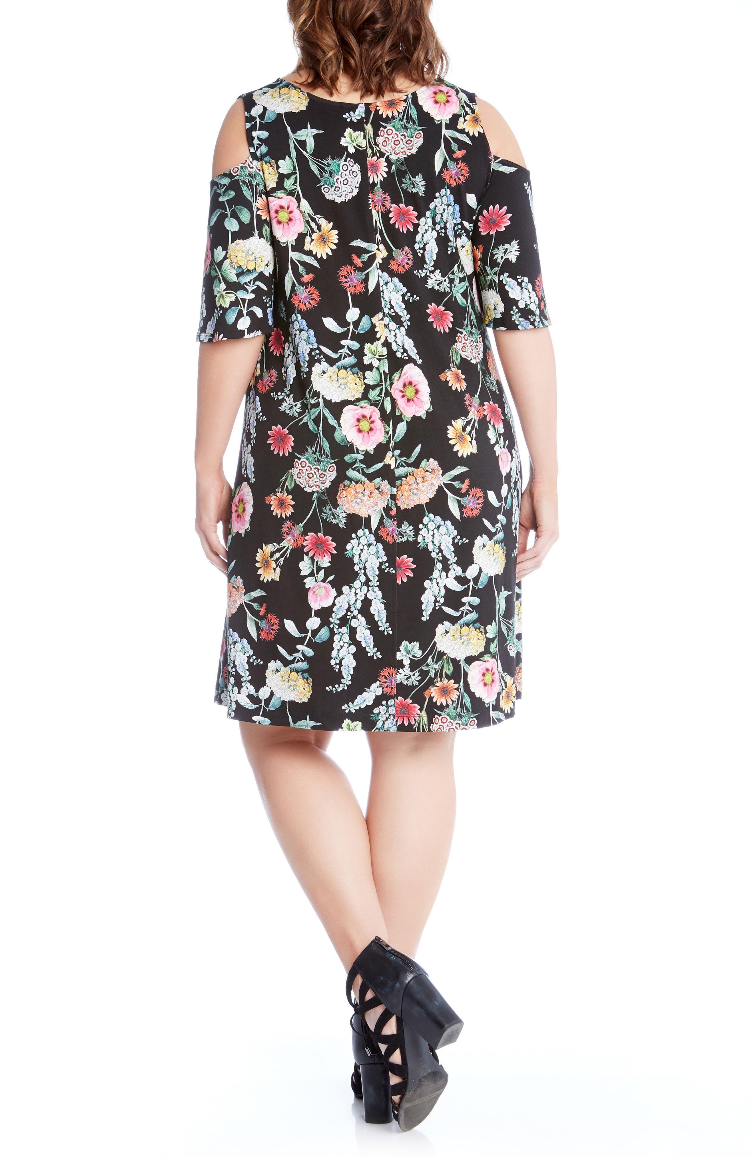 Floral Cold Shoulder A-Line Dress,                             Alternate thumbnail 2, color,