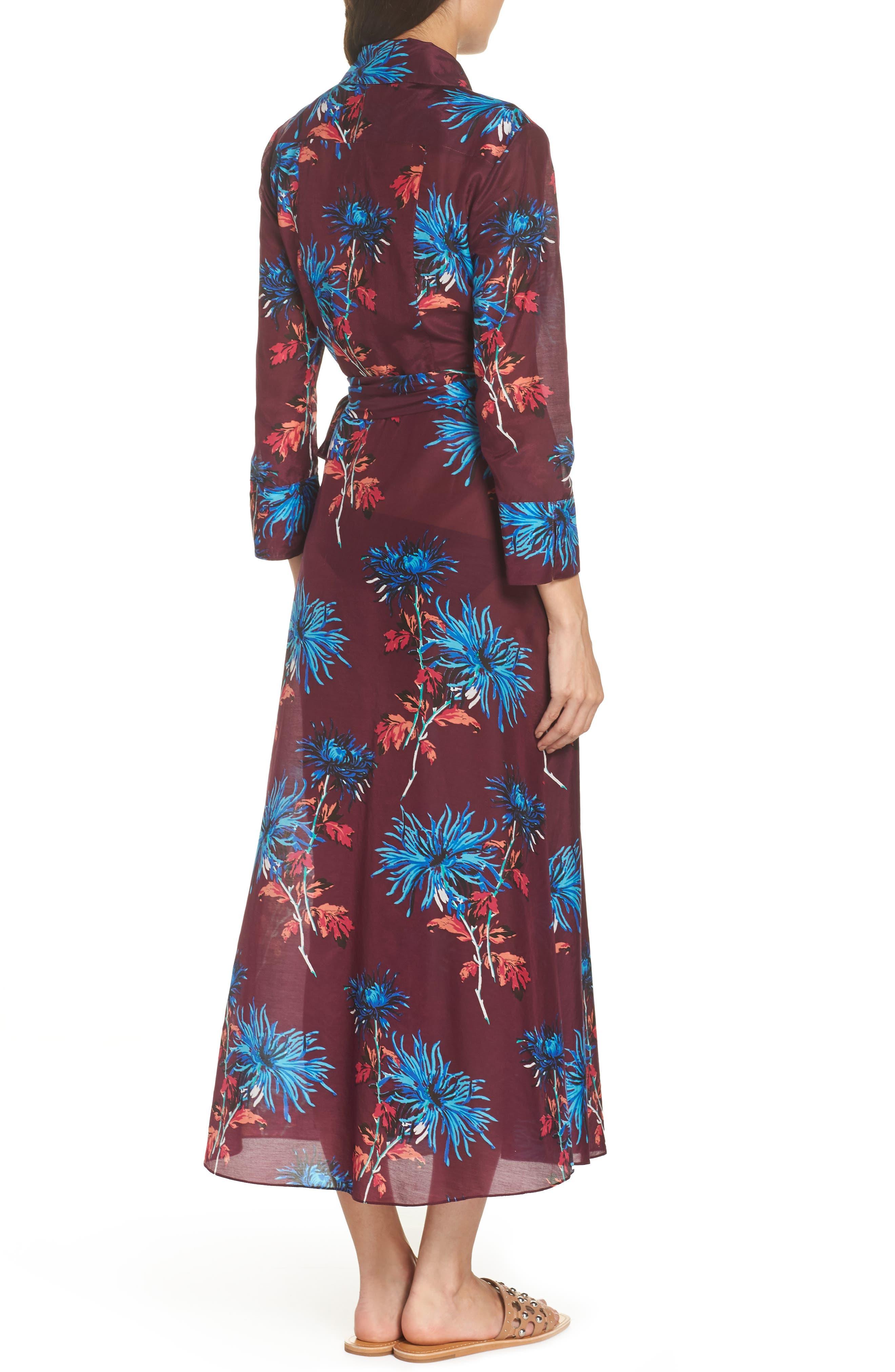 Long Cover-Up Wrap Dress,                             Alternate thumbnail 2, color,                             BURGUNDY