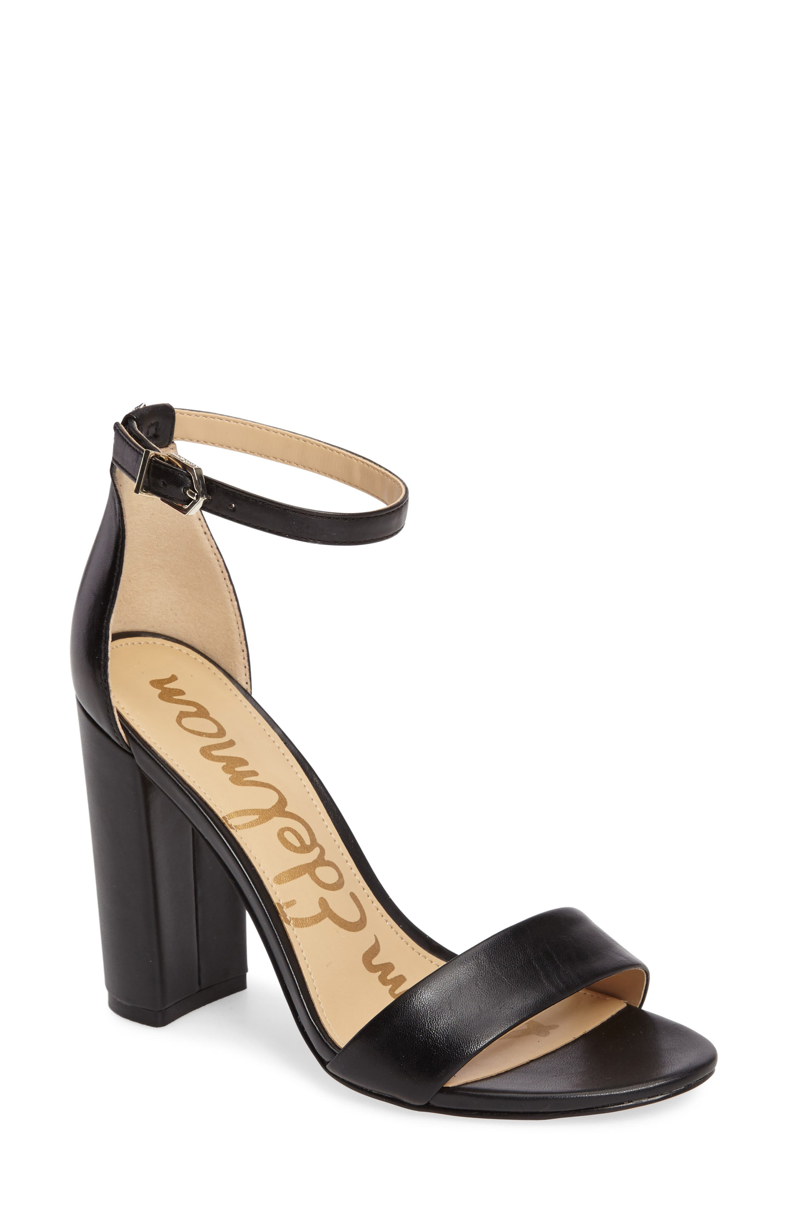 Yaro Ankle Strap Block Heel Sandals in Black Nappa Leather