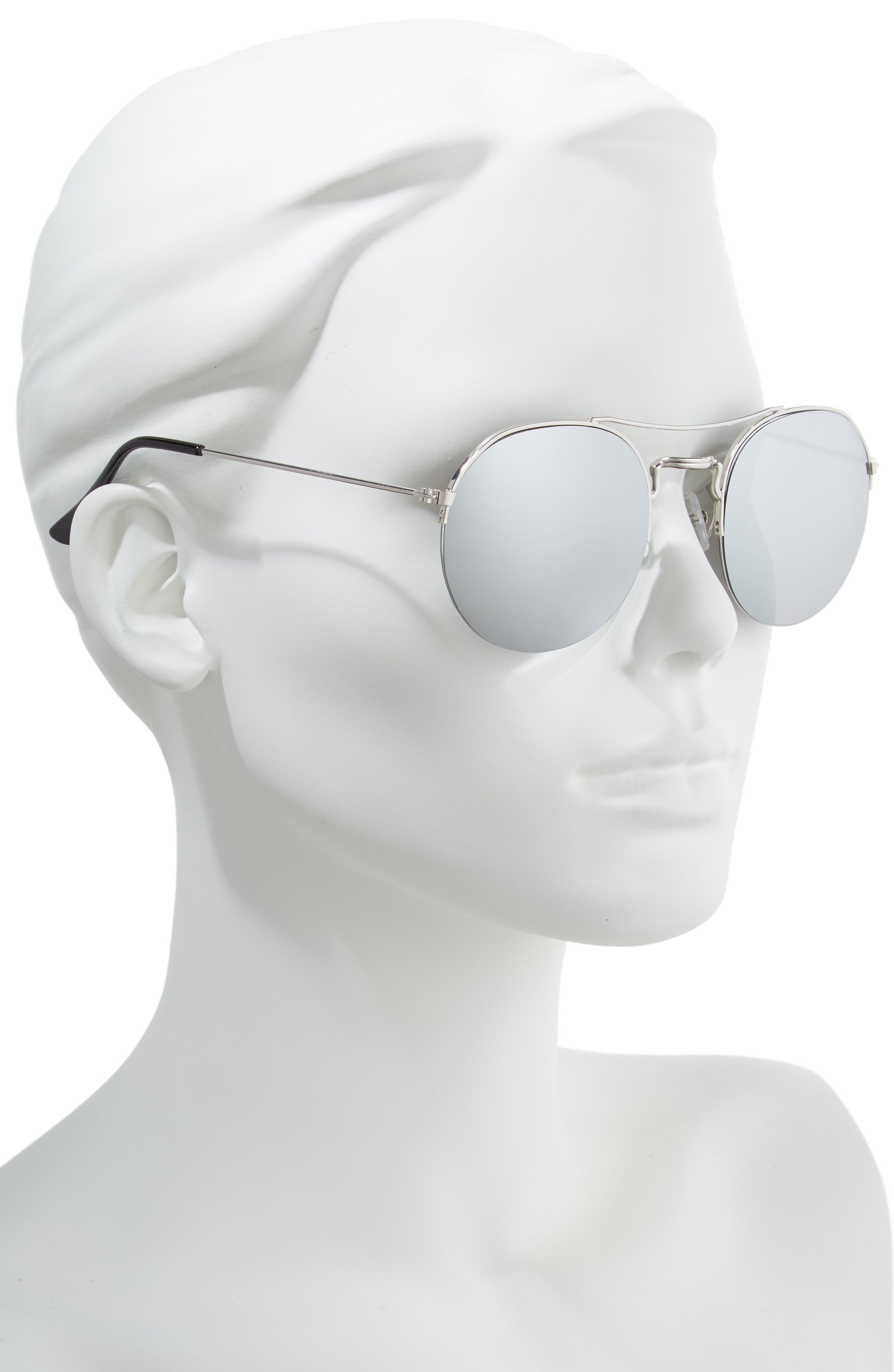 55mm Round Metal Aviator Sunglasses,                             Alternate thumbnail 2, color,                             DARK GREY