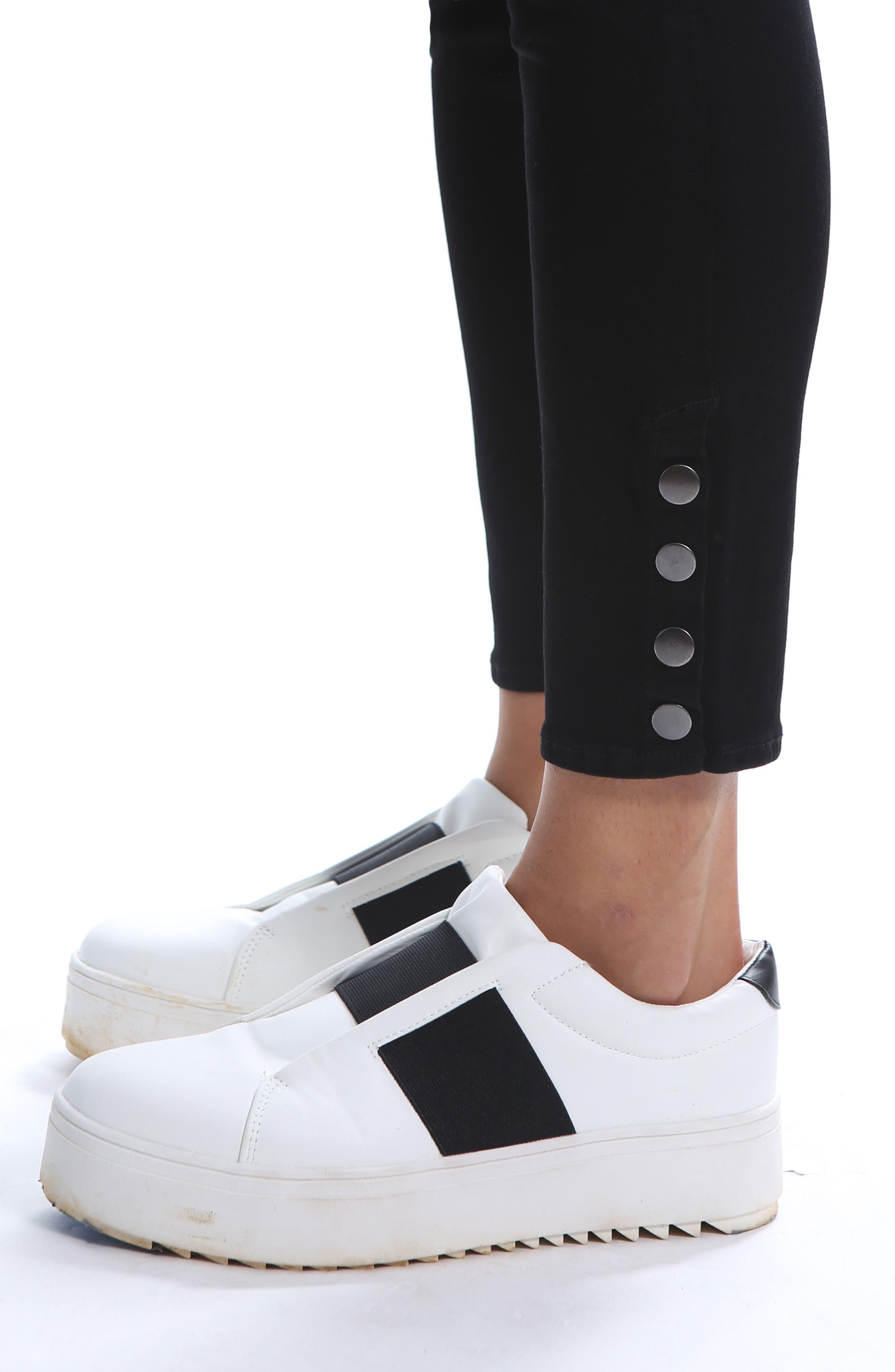 Snap Ankle Jeans,                             Alternate thumbnail 4, color,                             BLACK 2