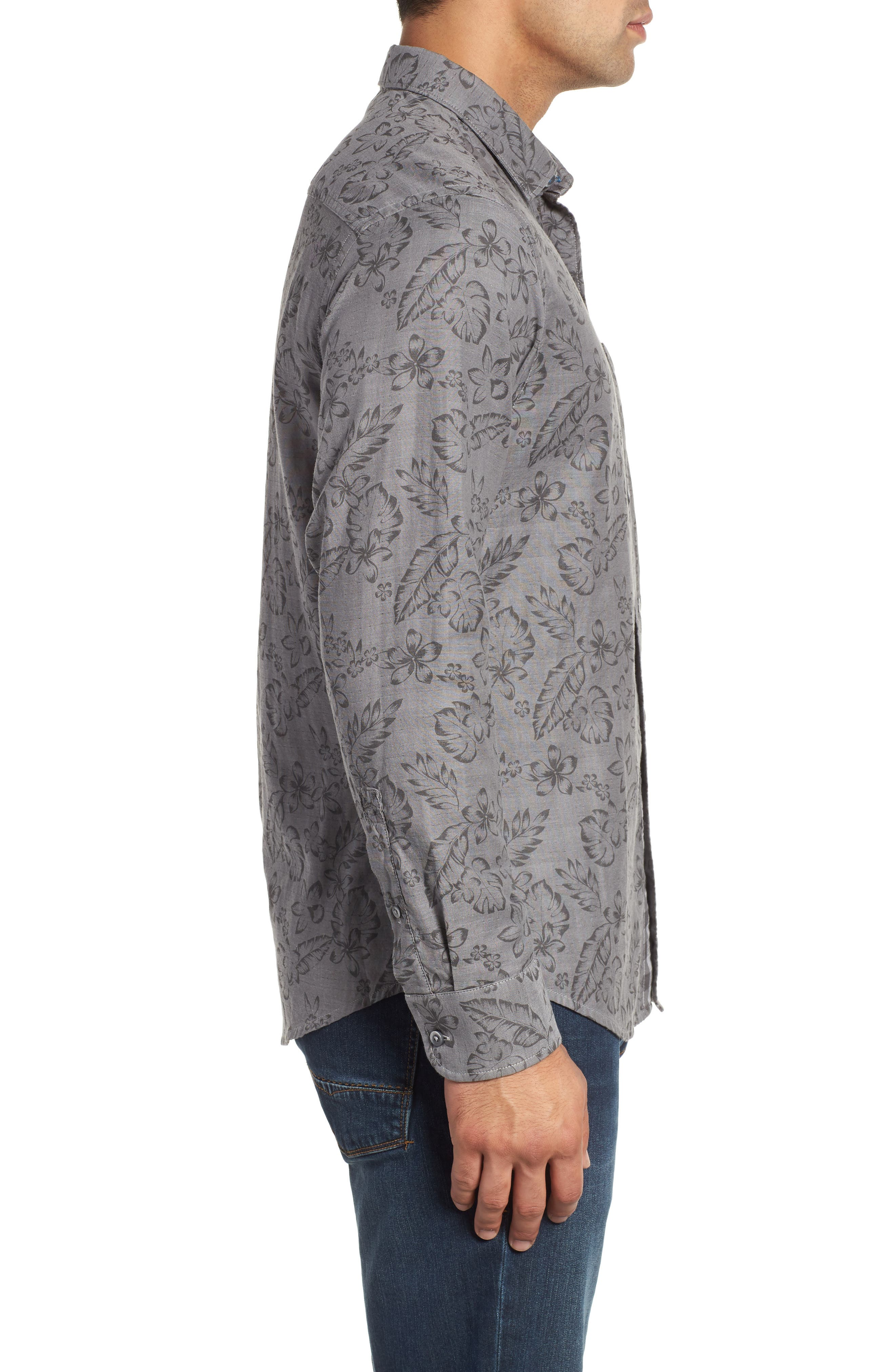 Check Back Regular Fit Tropical Shirt,                             Alternate thumbnail 4, color,                             ARGENT