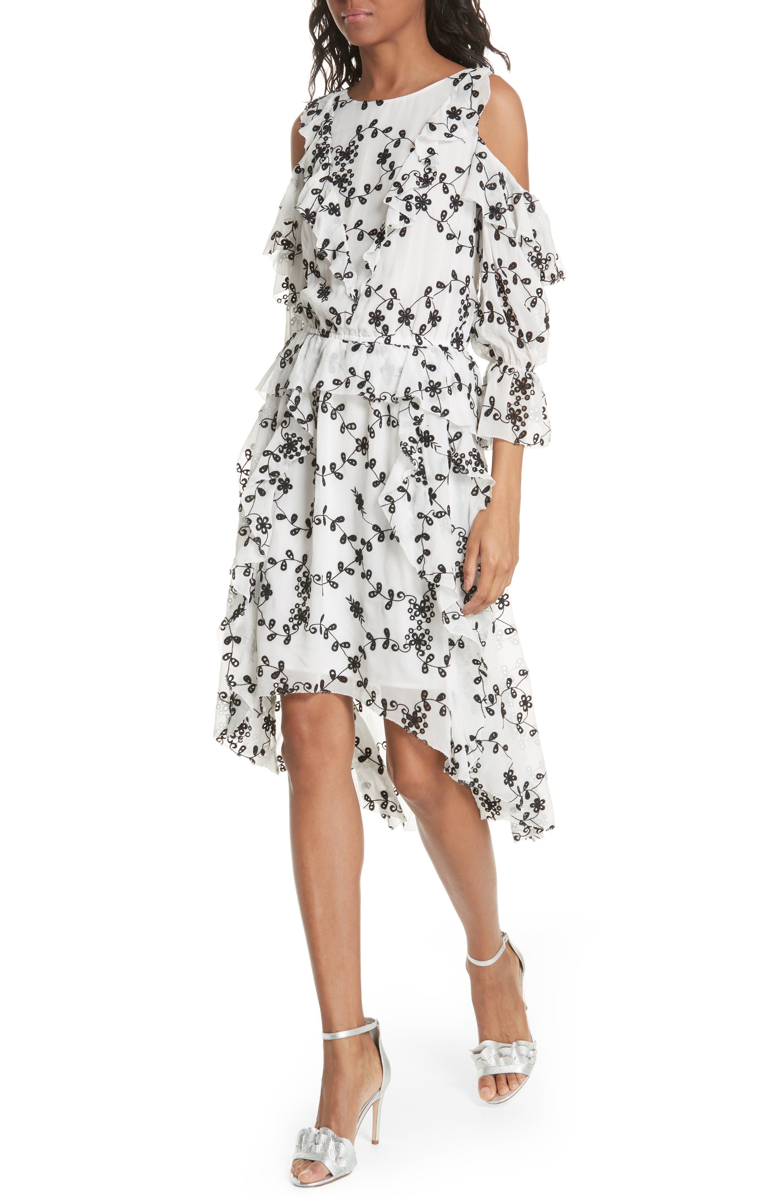 Alpheus Cold Shoulder Ruffled Silk Dress,                             Alternate thumbnail 8, color,
