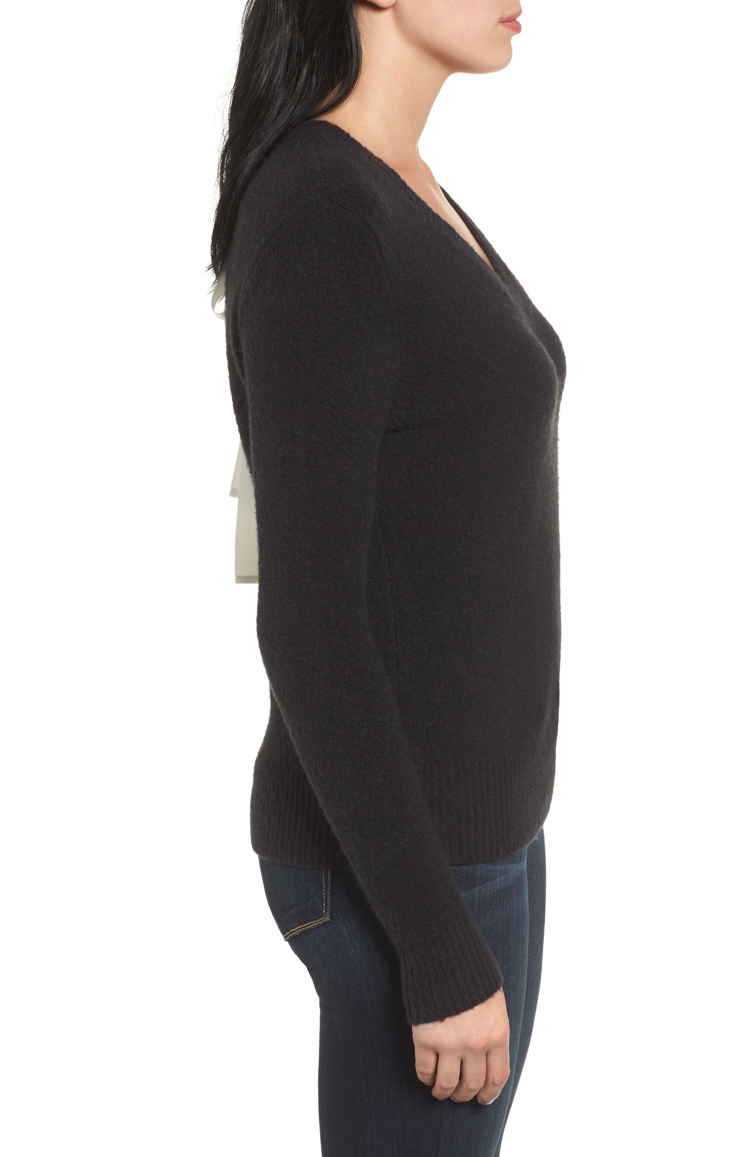 Tie Back Sweater,                             Alternate thumbnail 3, color,                             001