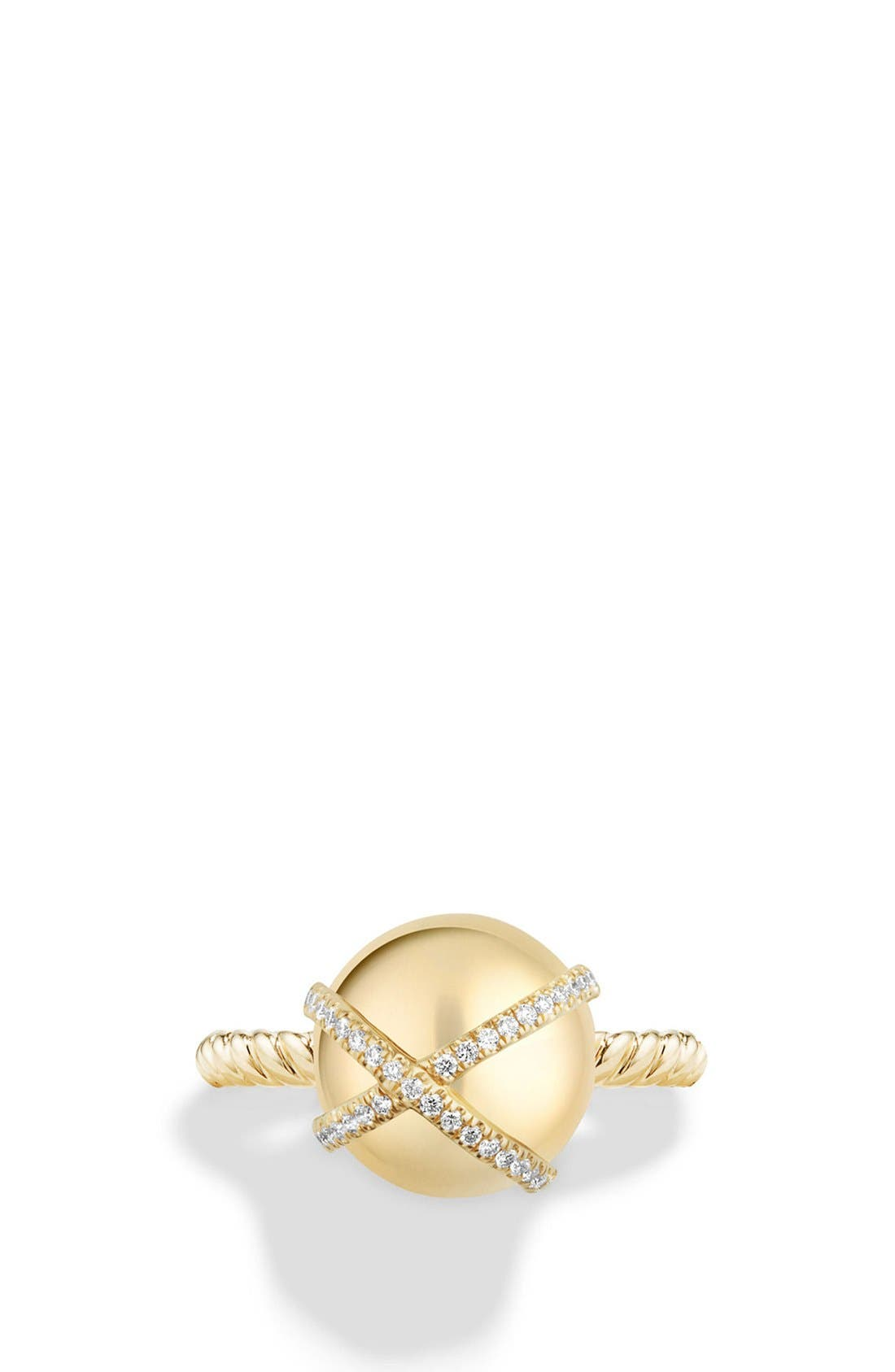 'Solari' Wrap Ring with Pavé Diamonds in 18k Gold,                             Alternate thumbnail 3, color,                             YELLOW GOLD