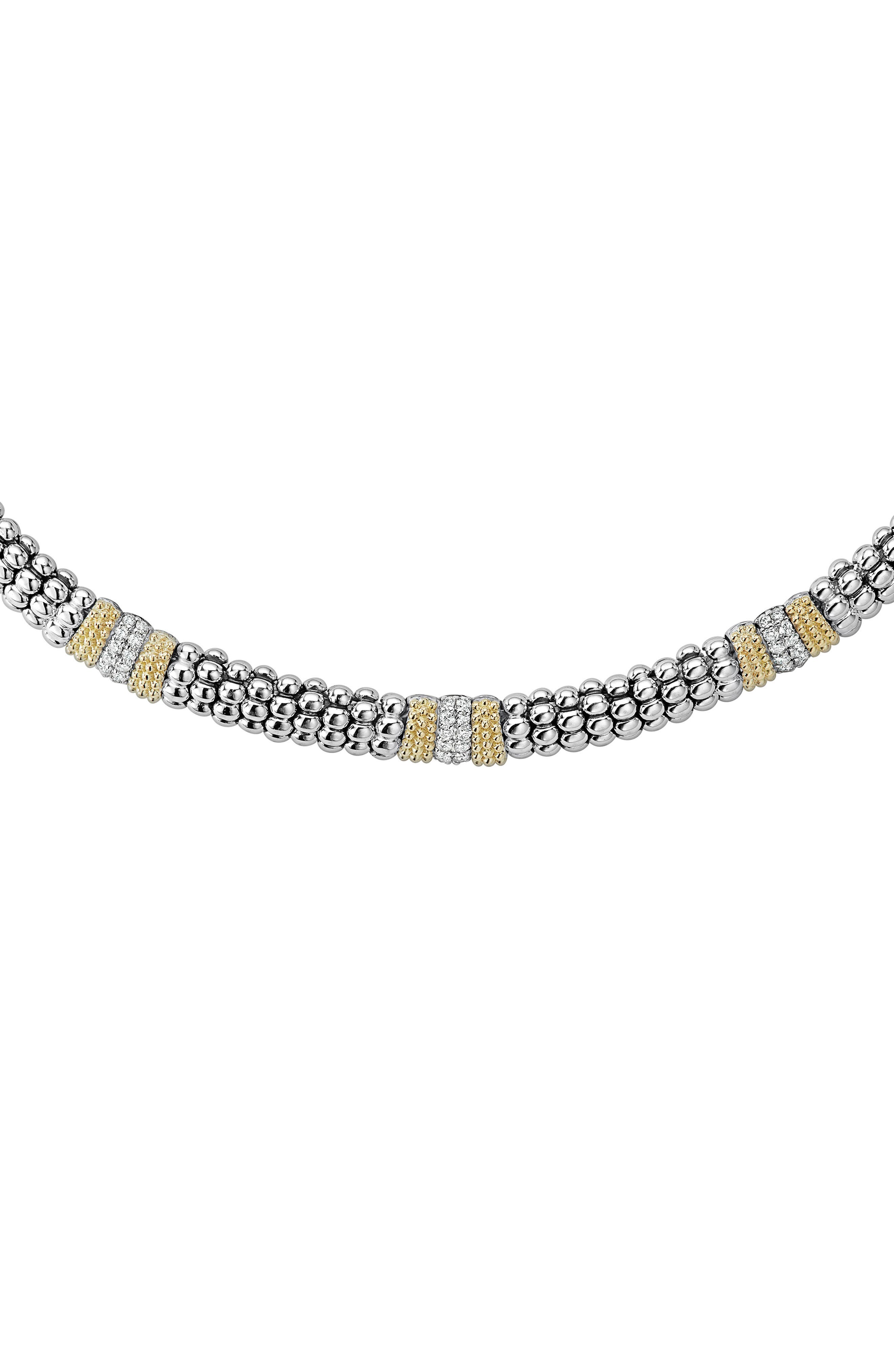 Diamond Lux Triple Station Collar Necklace,                             Main thumbnail 1, color,                             SILVER/ DIAMOND