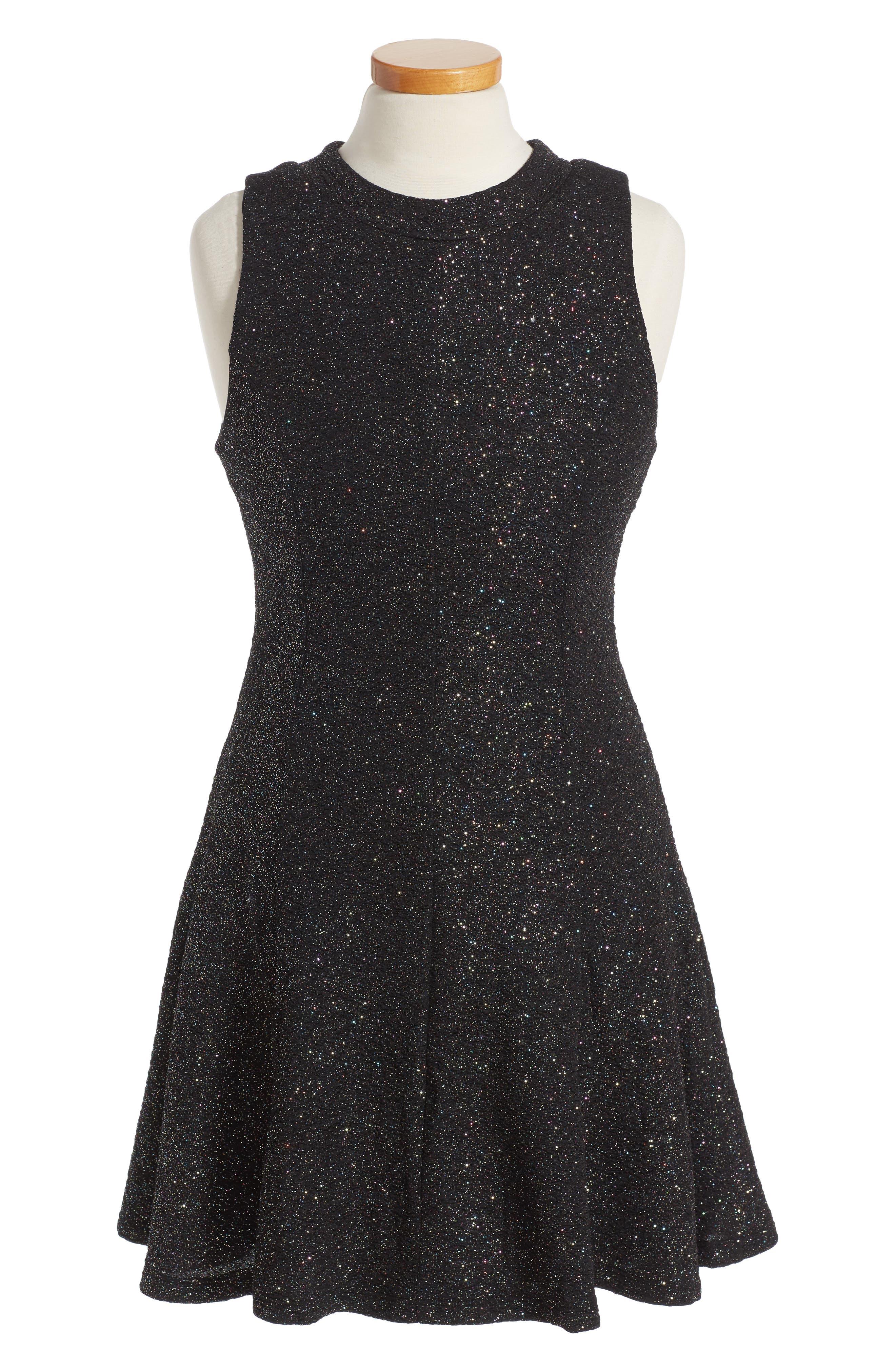 Shimmer Swing Dress,                             Alternate thumbnail 2, color,                             001