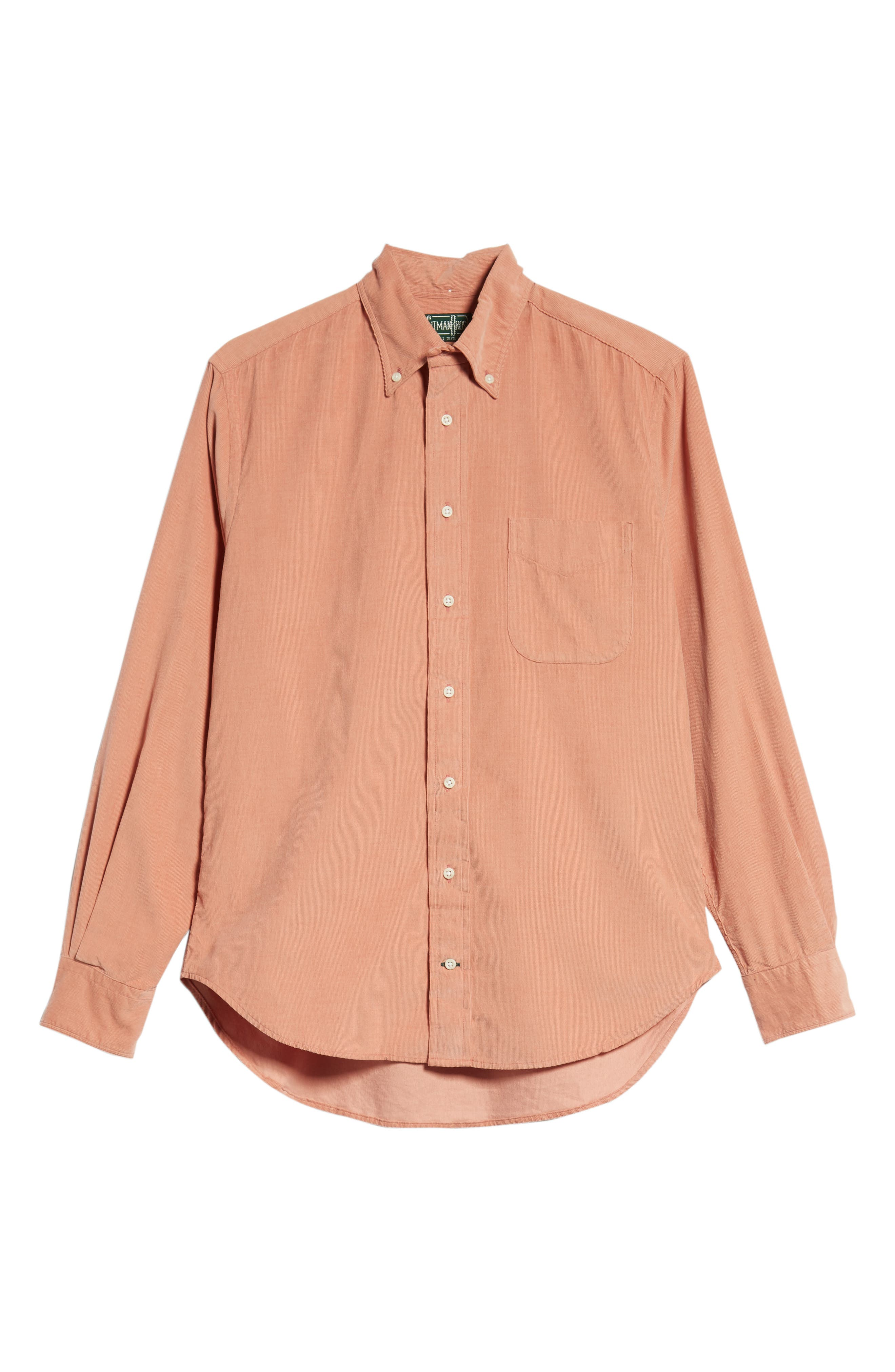 Regular Fit Corduroy Shirt,                             Alternate thumbnail 5, color,                             PINK