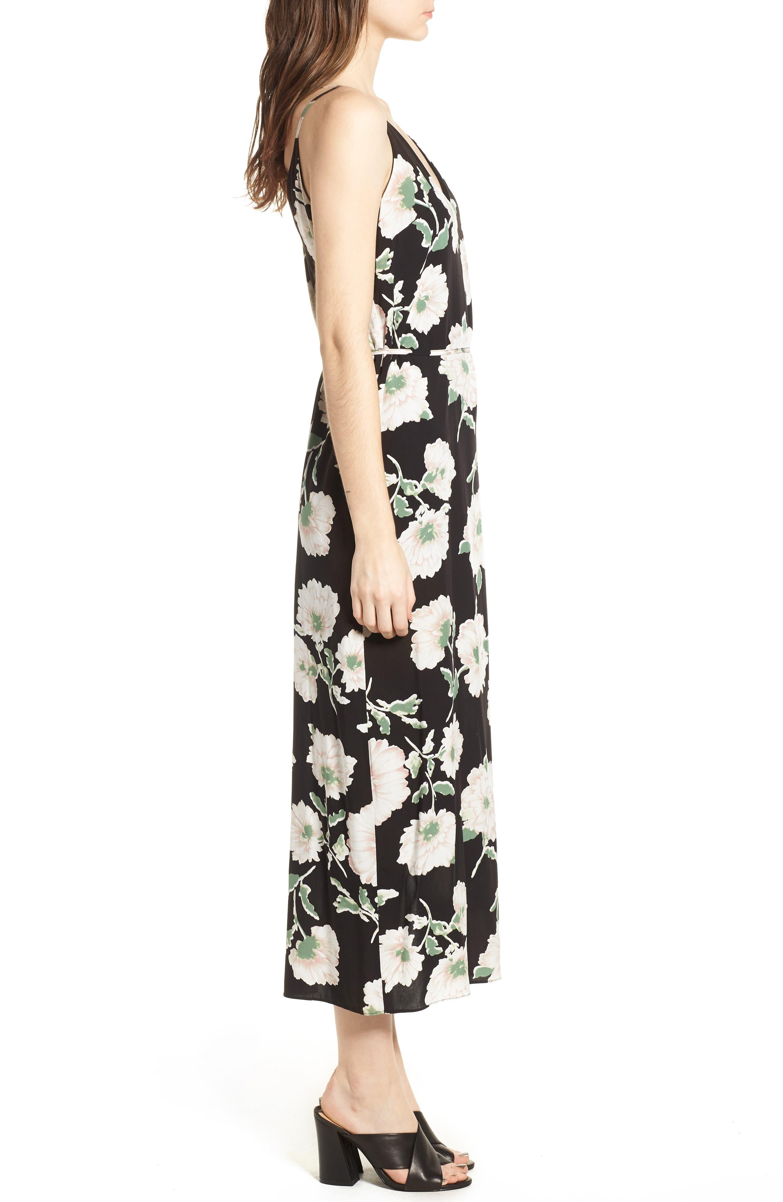 Tie Waist Maxi Dress,                             Alternate thumbnail 3, color,                             001