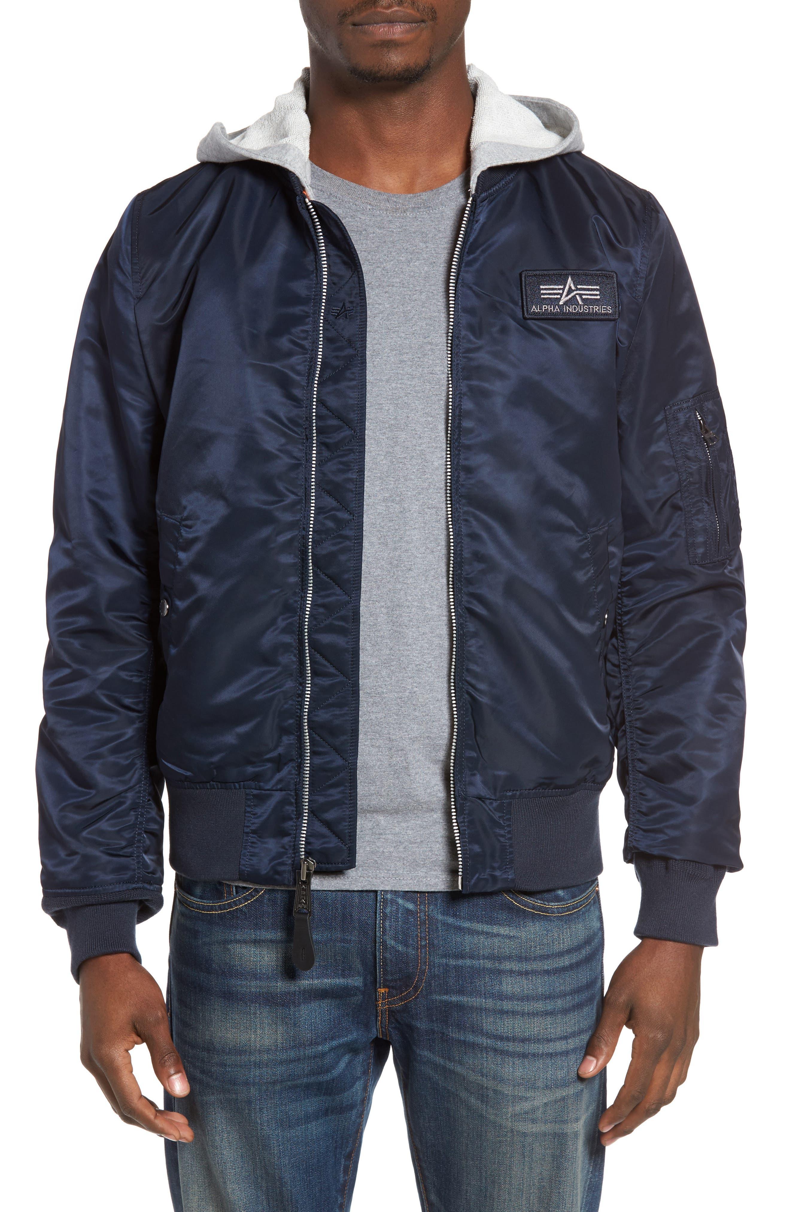 Lightweight L2-B Flight Jacket with Knit Hood,                             Main thumbnail 4, color,