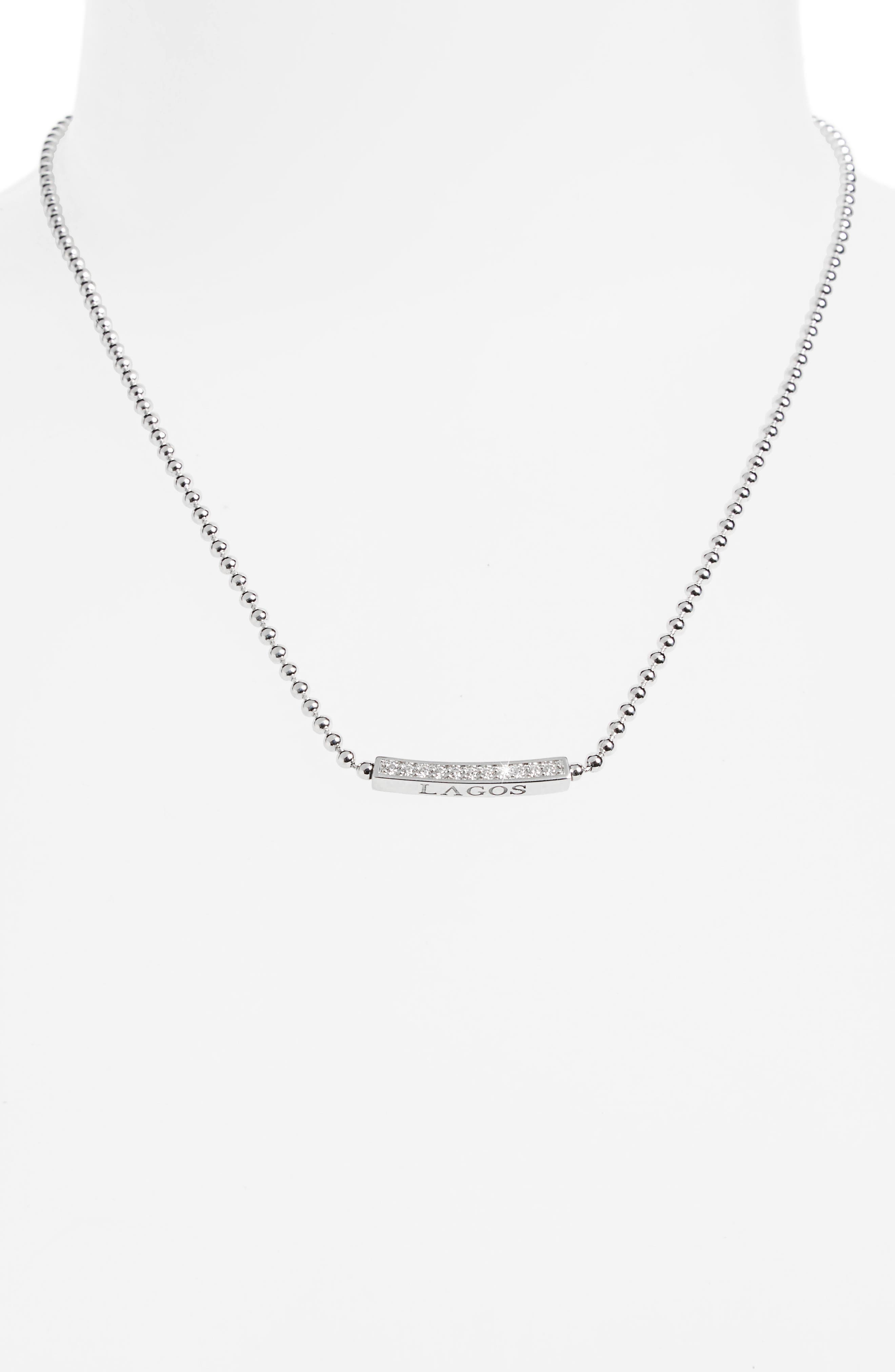 Caviar Spark Diamond Pendant Necklace,                             Alternate thumbnail 3, color,                             SILVER/ DIAMOND