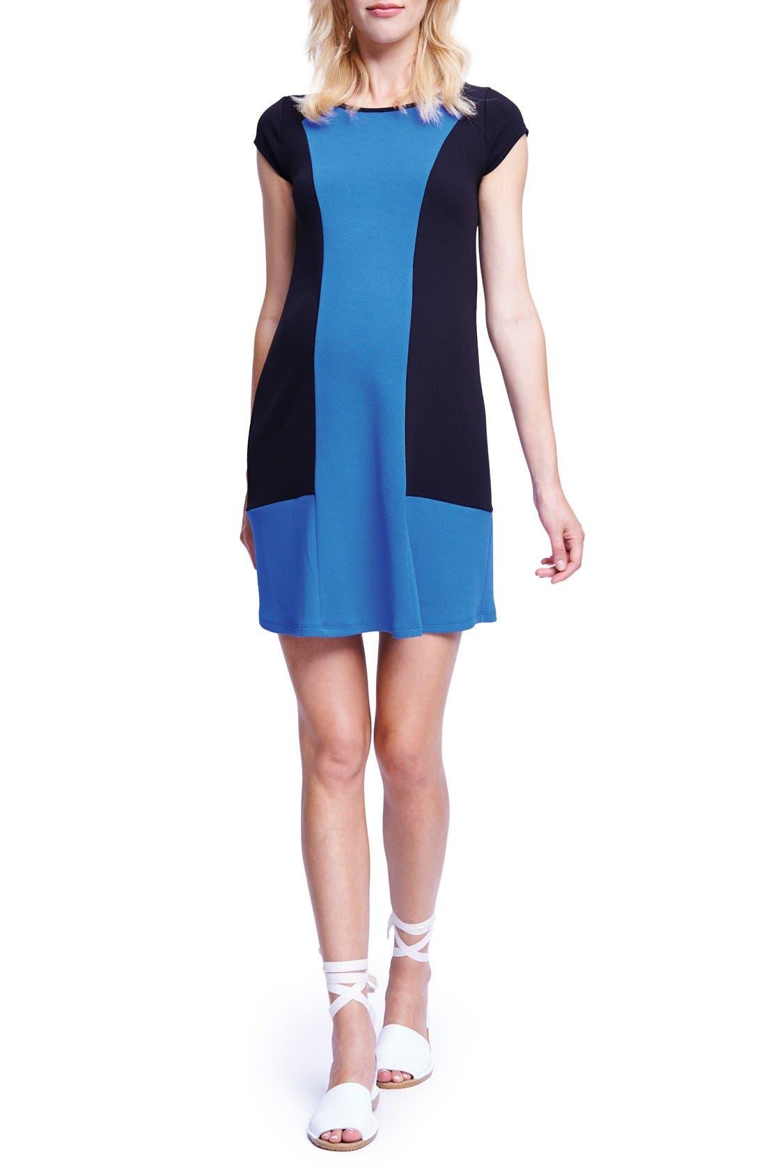 Colorblock Maternity T-Shirt Dress,                         Main,                         color, BLACK/ ROYAL BLUE