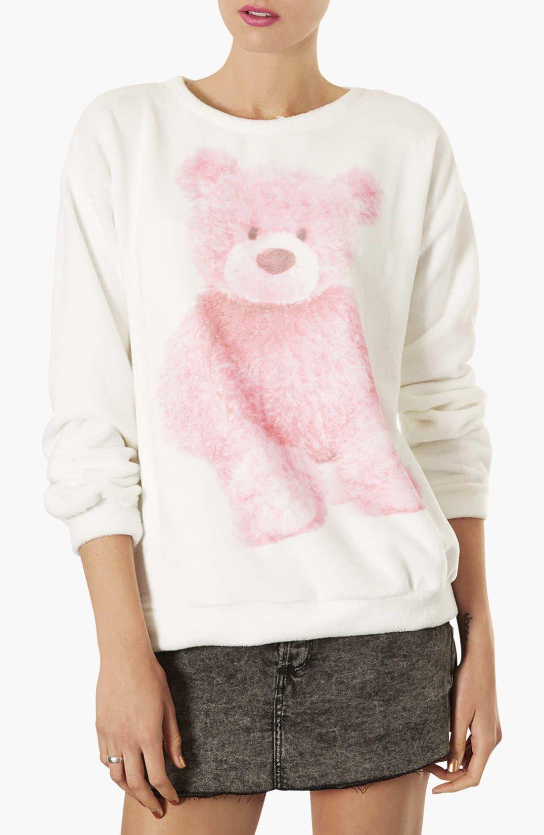 TOPSHOP Teddy Bear Furry Sweatshirt, Main, color, 900
