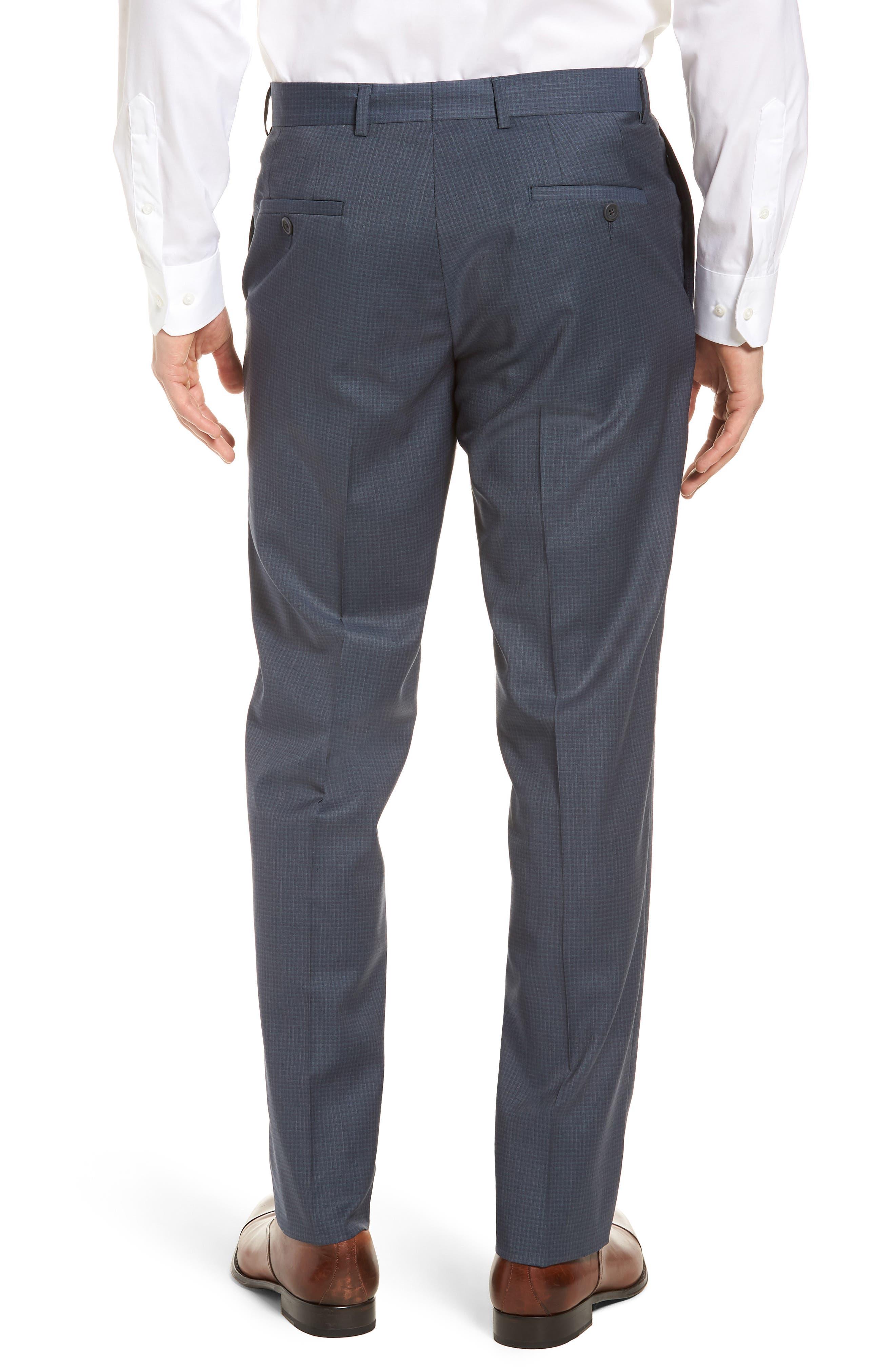 Tech-Smart Check Flat Front Stretch Wool Pants,                             Alternate thumbnail 3, color,                             030