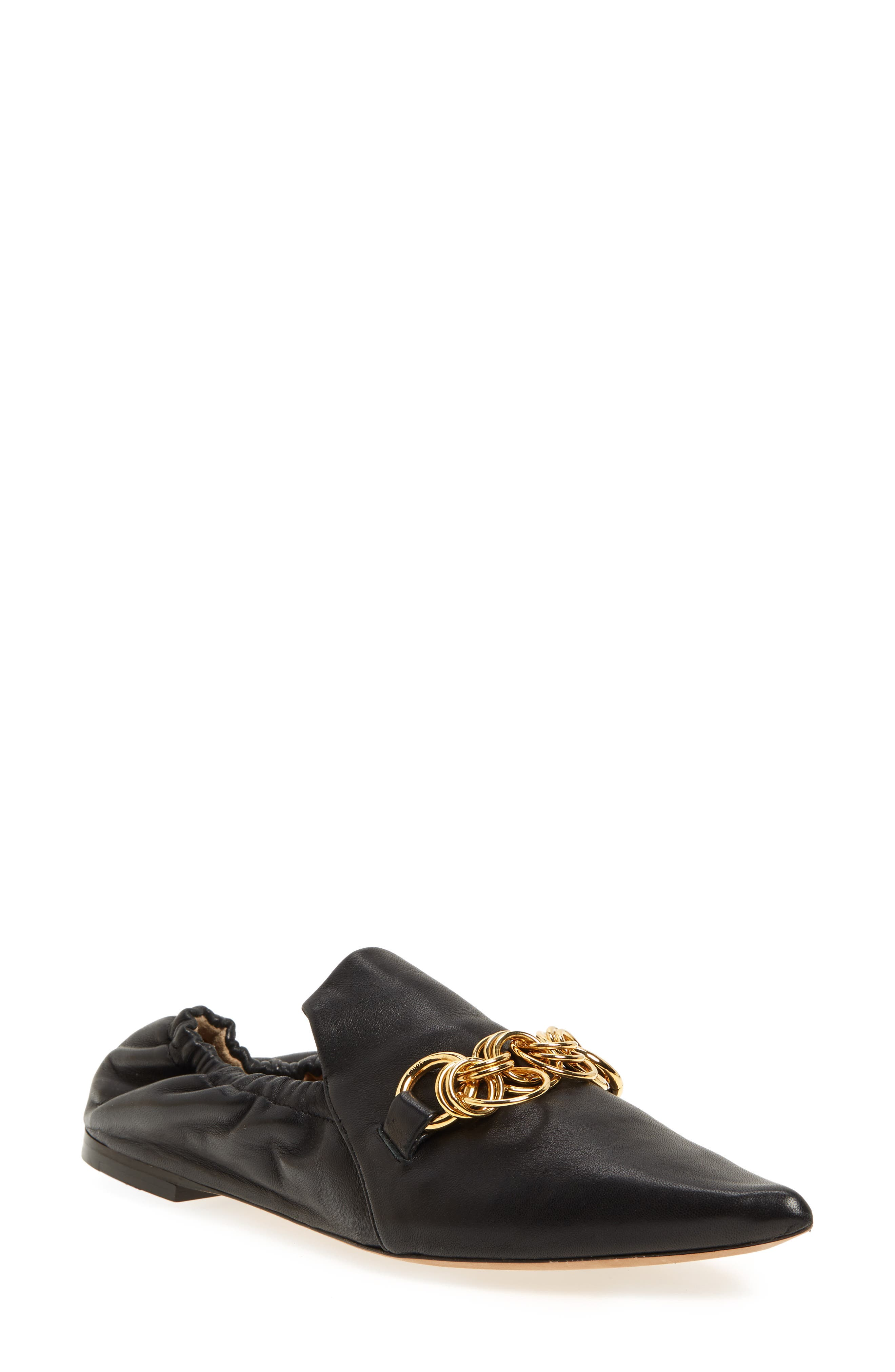Chloe Reese Chain Bit Loafer Flat, Black