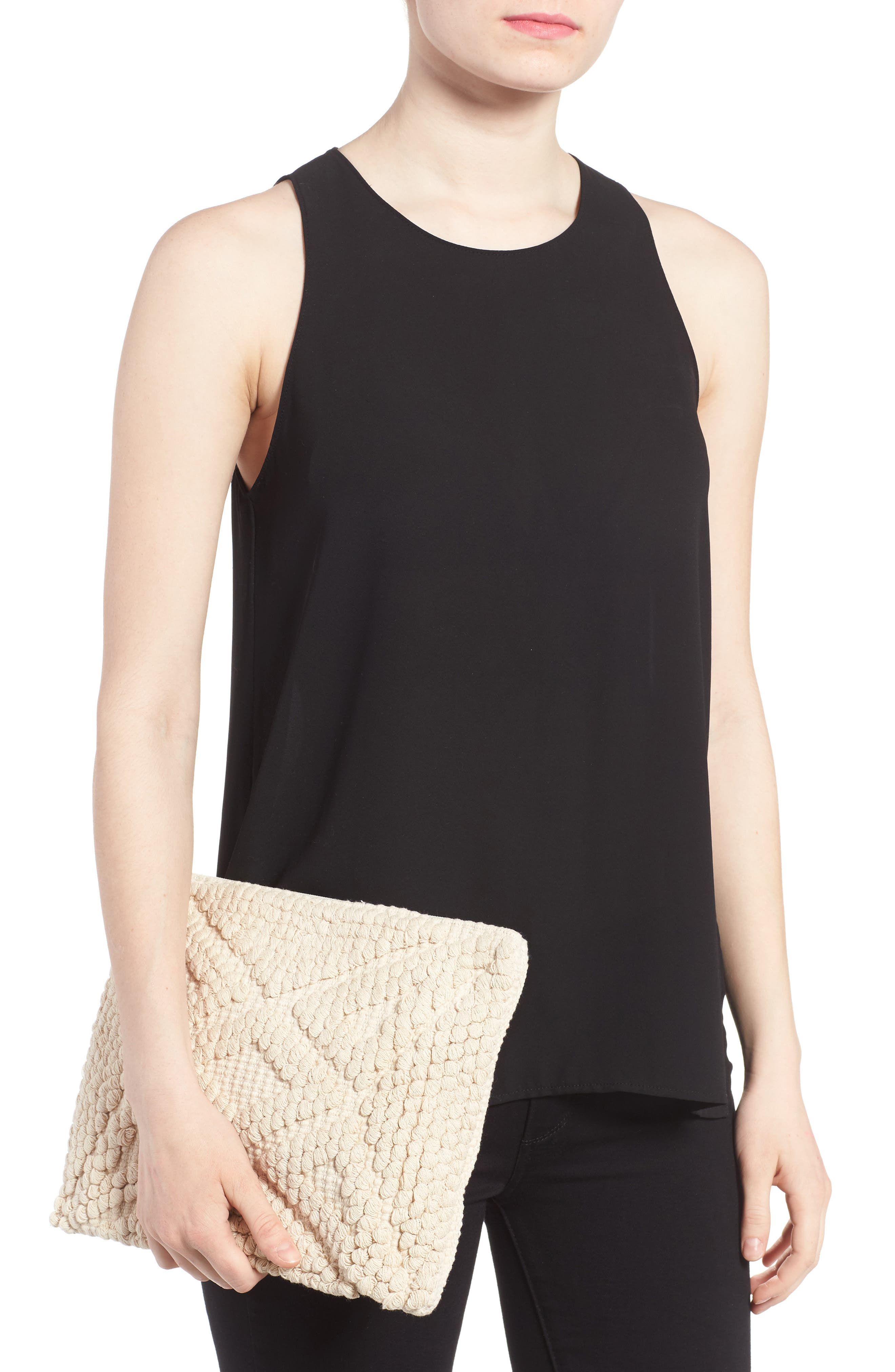 Palisades Tasseled Woven Clutch,                             Alternate thumbnail 8, color,