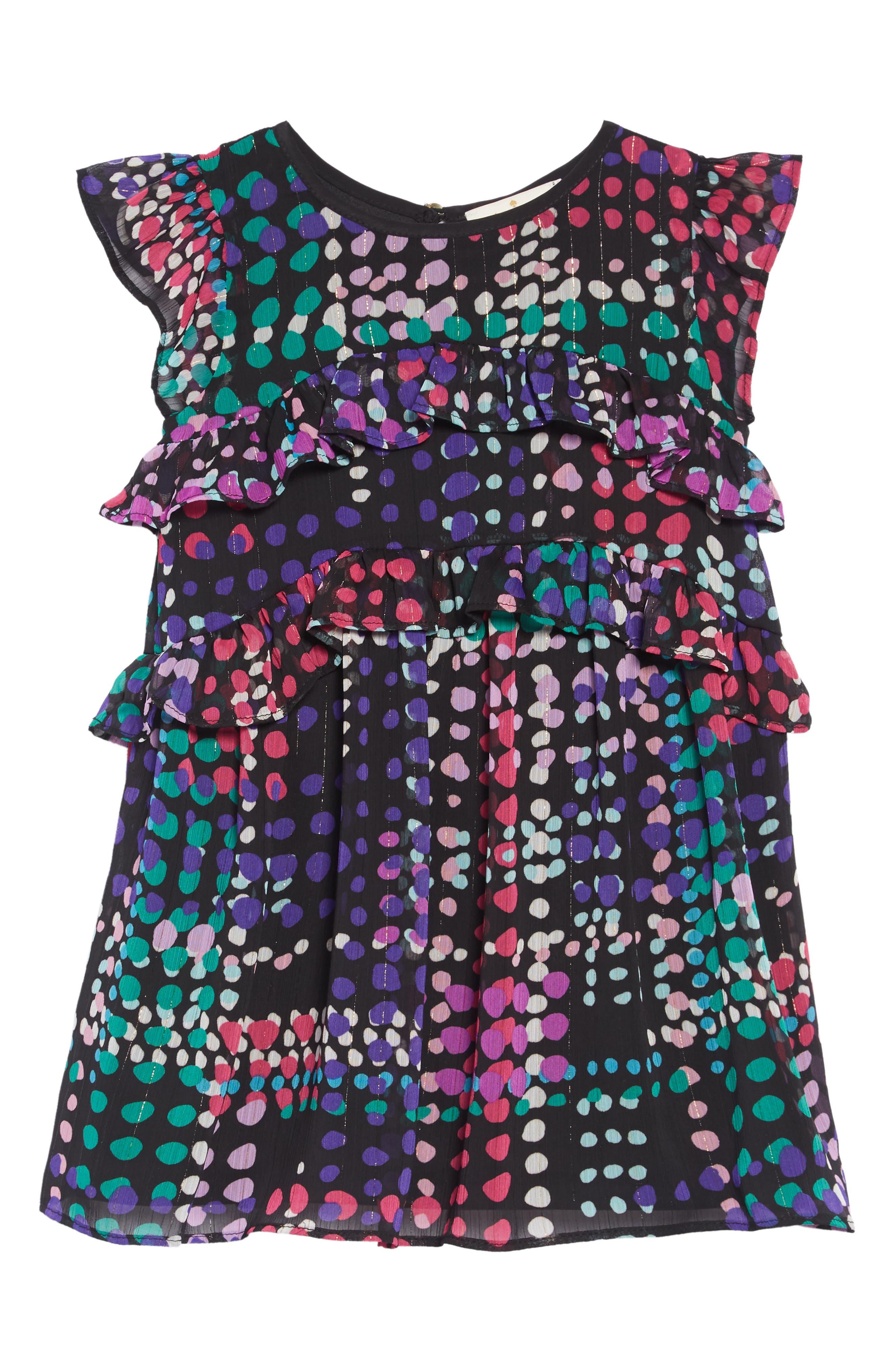 polka dot ruffle dress,                             Main thumbnail 1, color,                             DOTTY PLAID