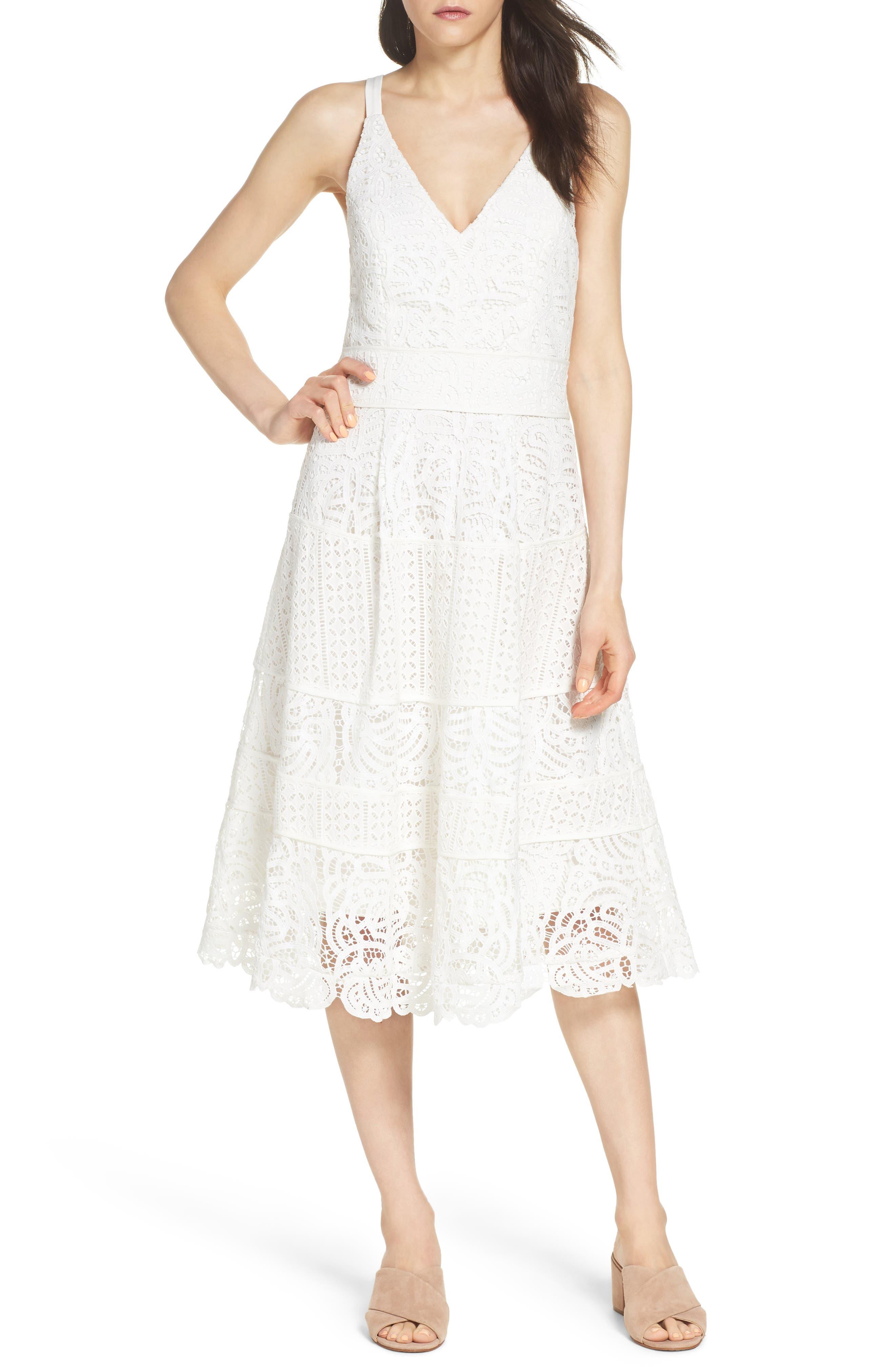 Fit & Flare Midi Dress,                             Main thumbnail 3, color,