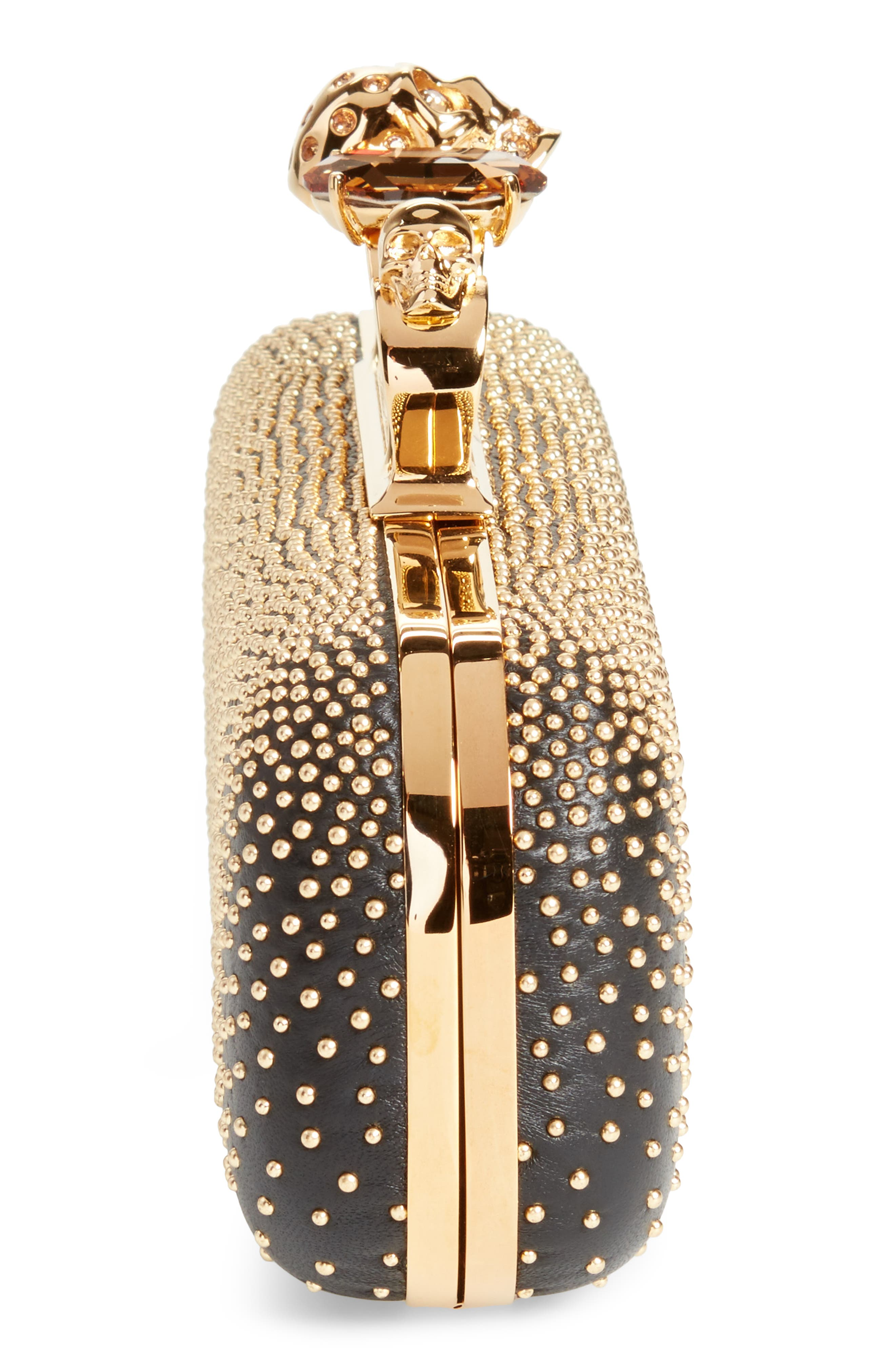 Studded Leather Knuckle Clutch,                             Alternate thumbnail 5, color,                             001
