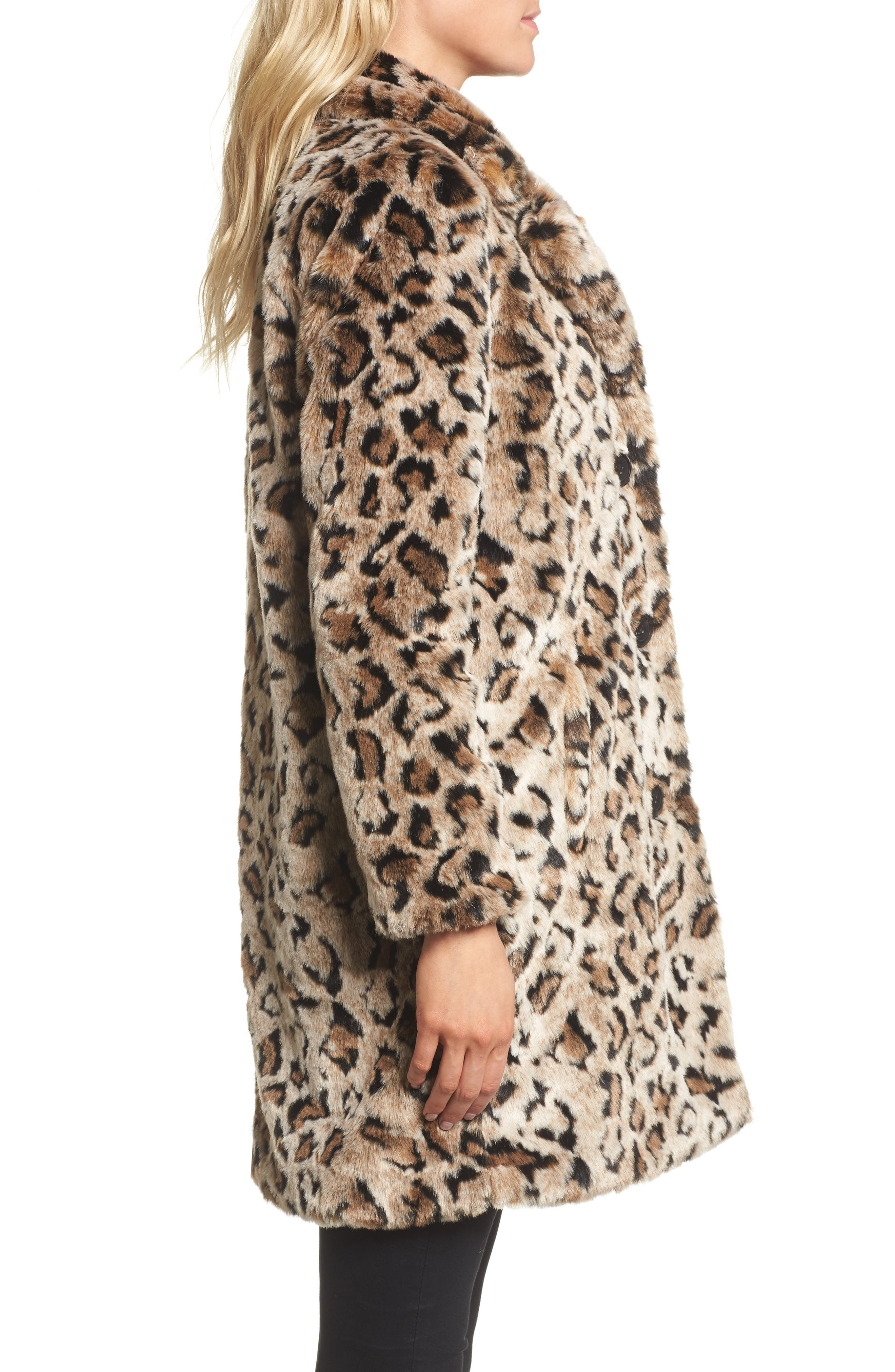 Abeni Faux Fur Coat,                             Alternate thumbnail 3, color,