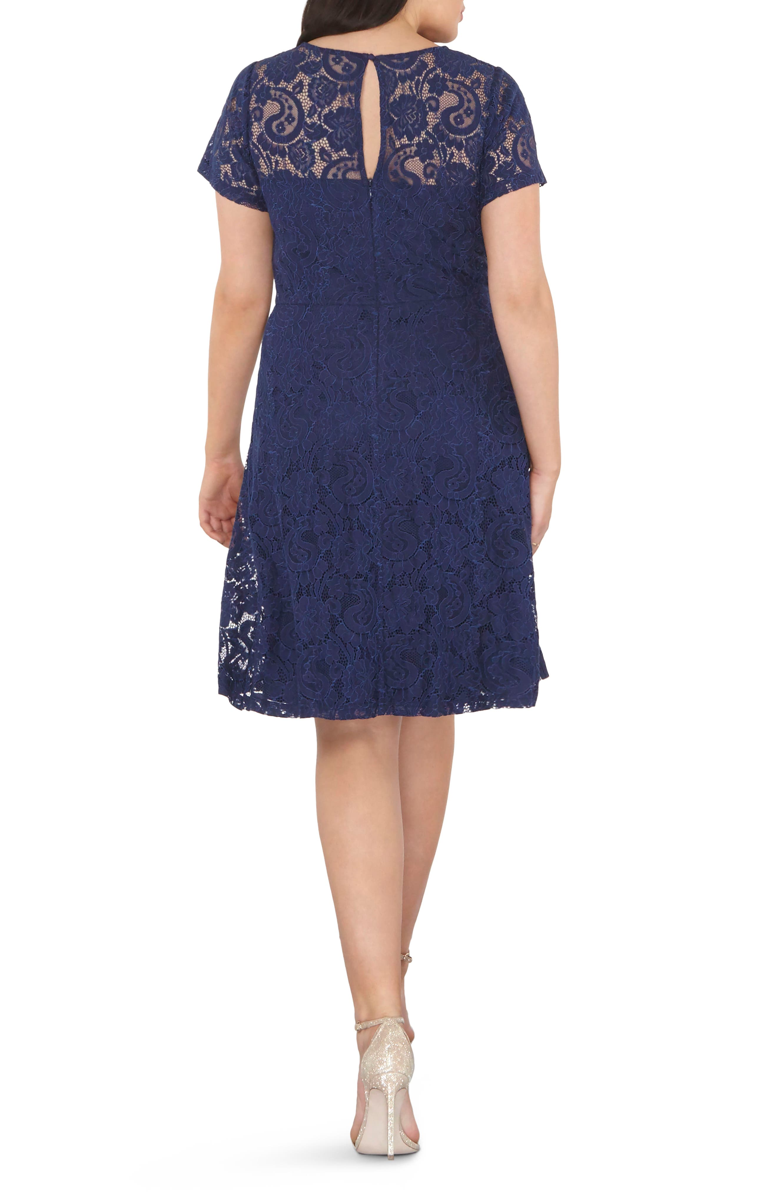 Lace Fit & Flare Dress,                             Alternate thumbnail 2, color,                             400