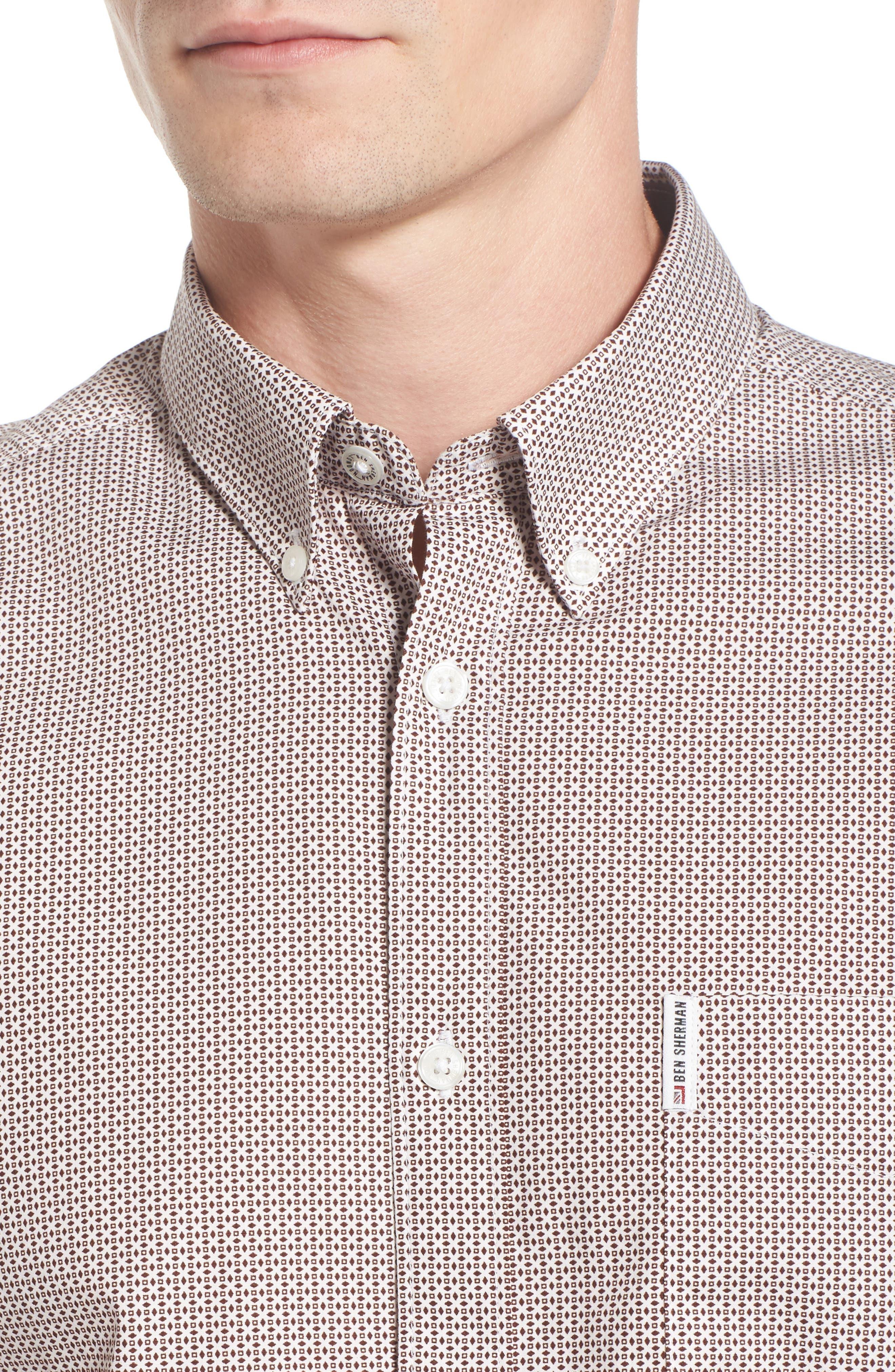 Micro Diamond Print Sport Shirt,                             Alternate thumbnail 4, color,                             101