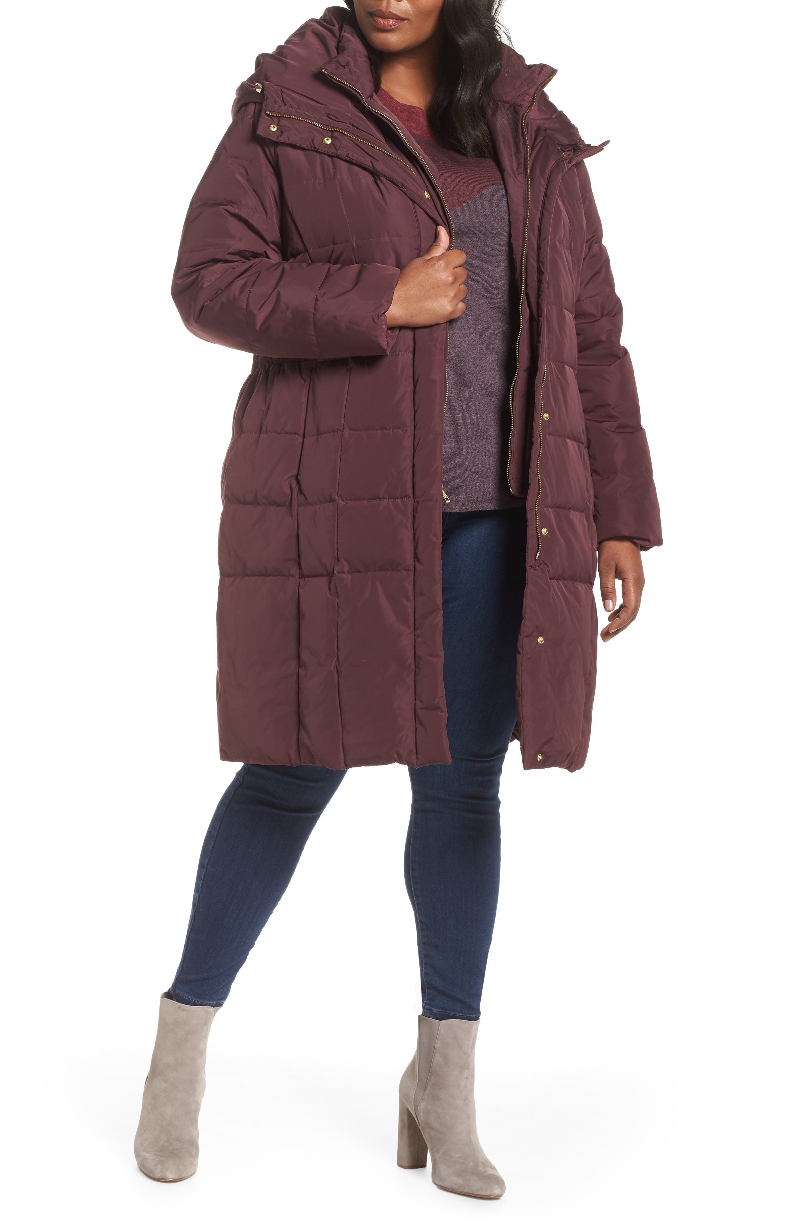 Plus Size Cole Haan Signature Bib Inset Coat, Red