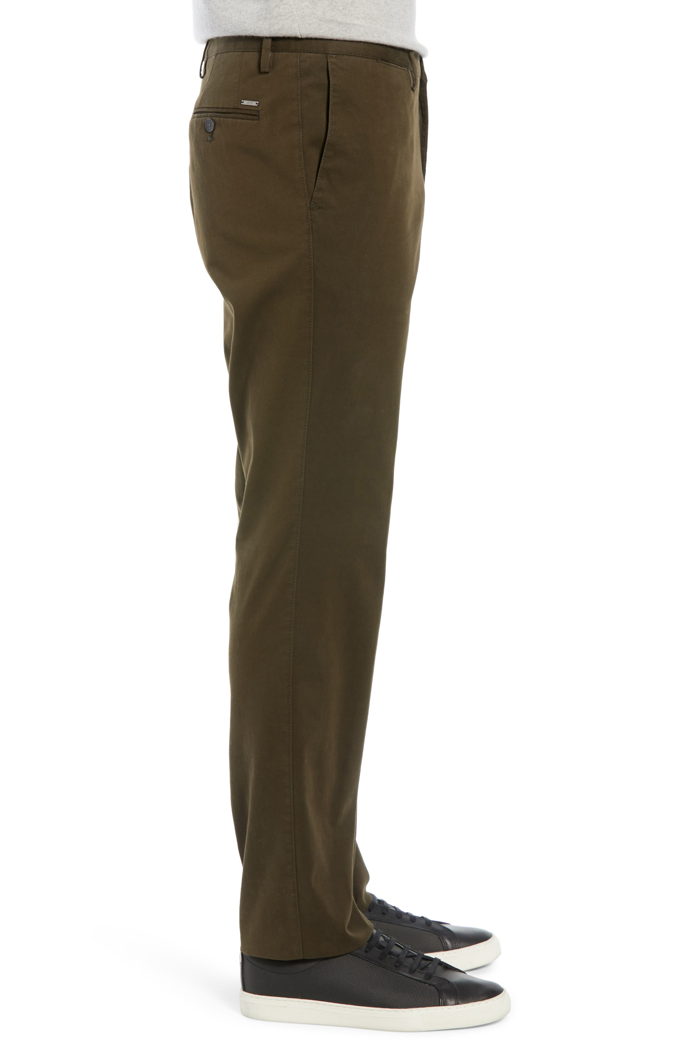 Stanino Flat Front Stretch Cotton Solid Trousers,                             Alternate thumbnail 3, color,                             OLIVE