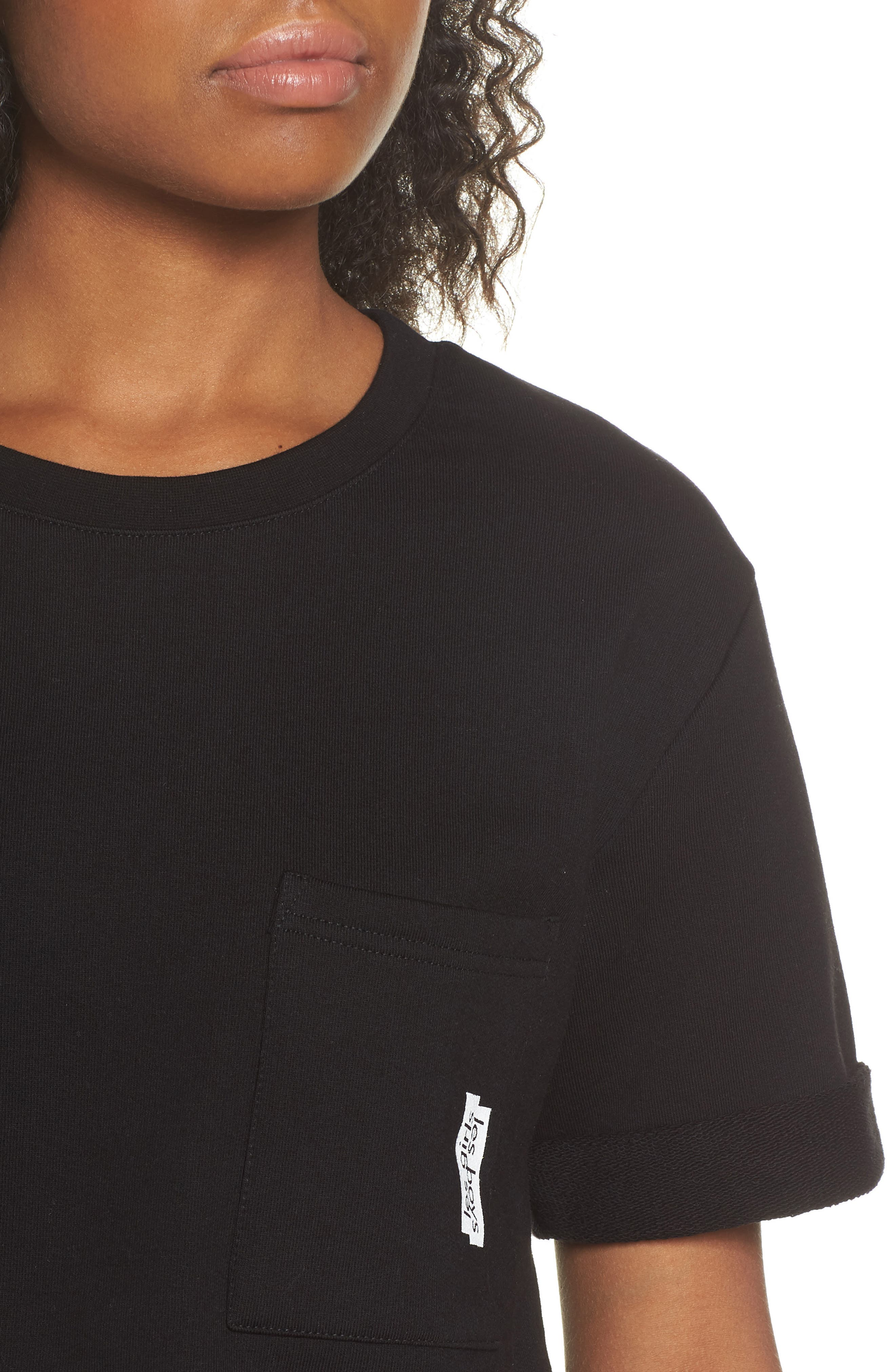 French Terry Crop Sweatshirt,                             Alternate thumbnail 4, color,                             003