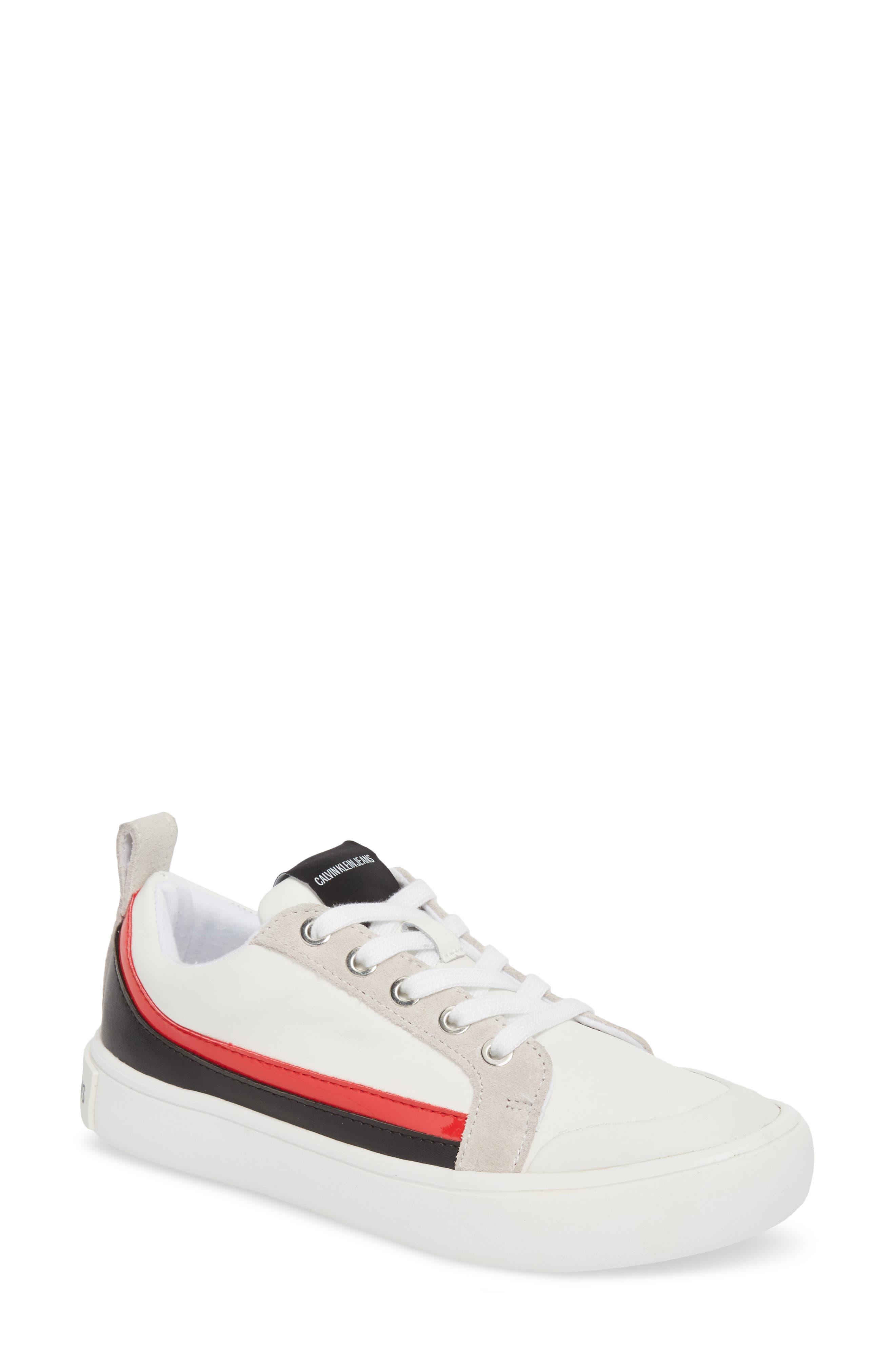 Dodie Sneaker,                         Main,                         color, WHITE/ BLACK/ TOMATO
