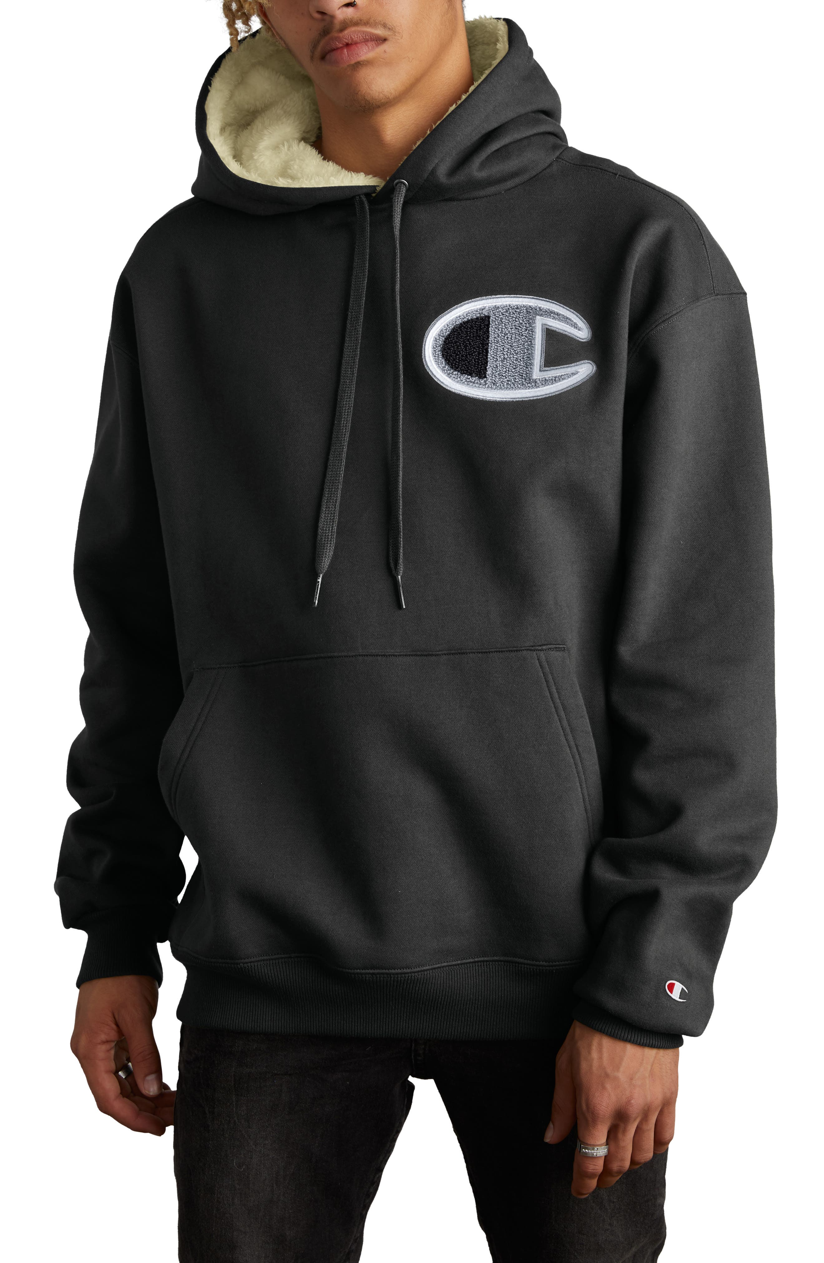 Fleece Lined Hoodie,                         Main,                         color, BLACK
