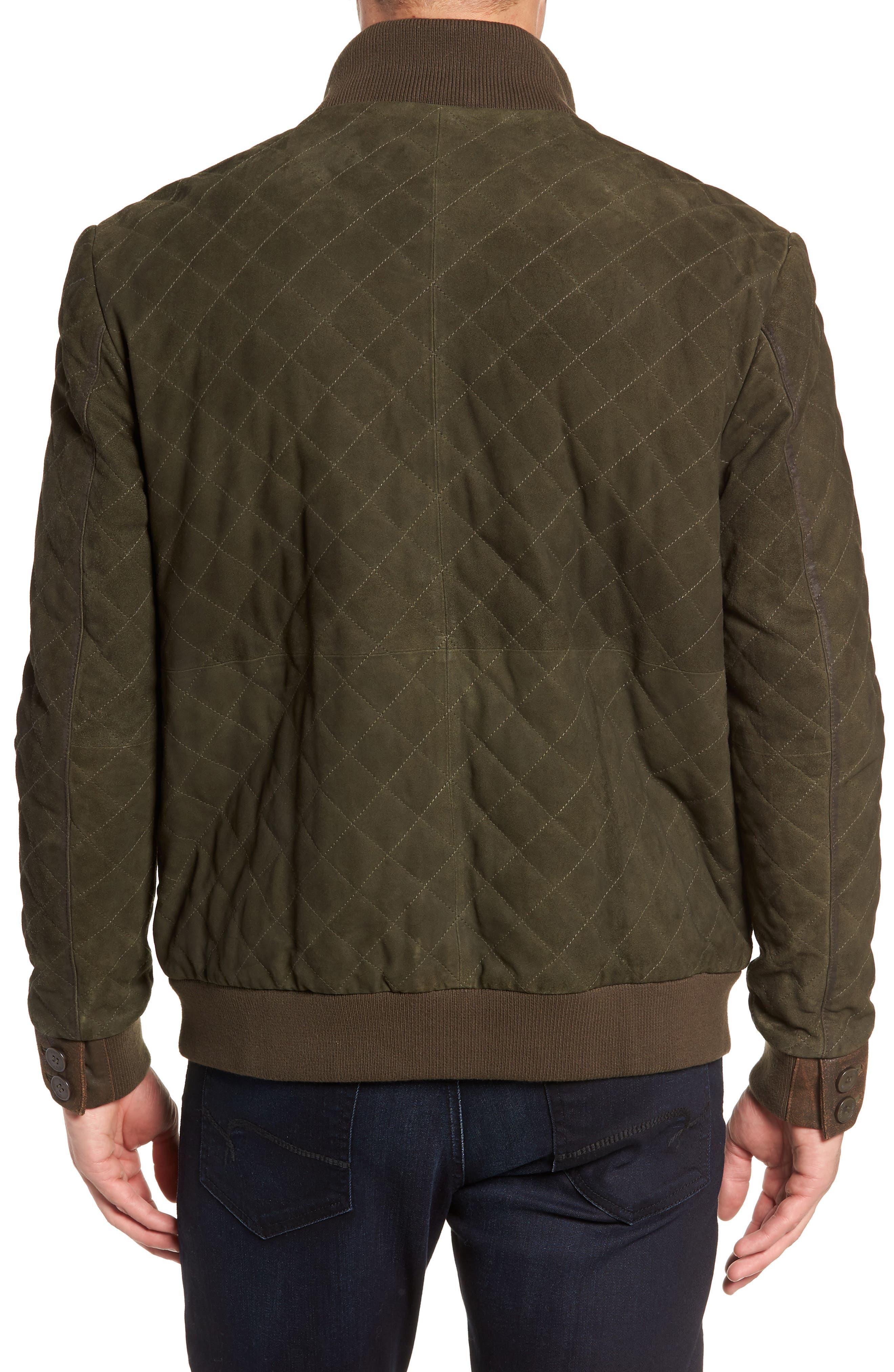 Regular Fit Quilted Suede Jacket,                             Alternate thumbnail 2, color,                             OLIVE