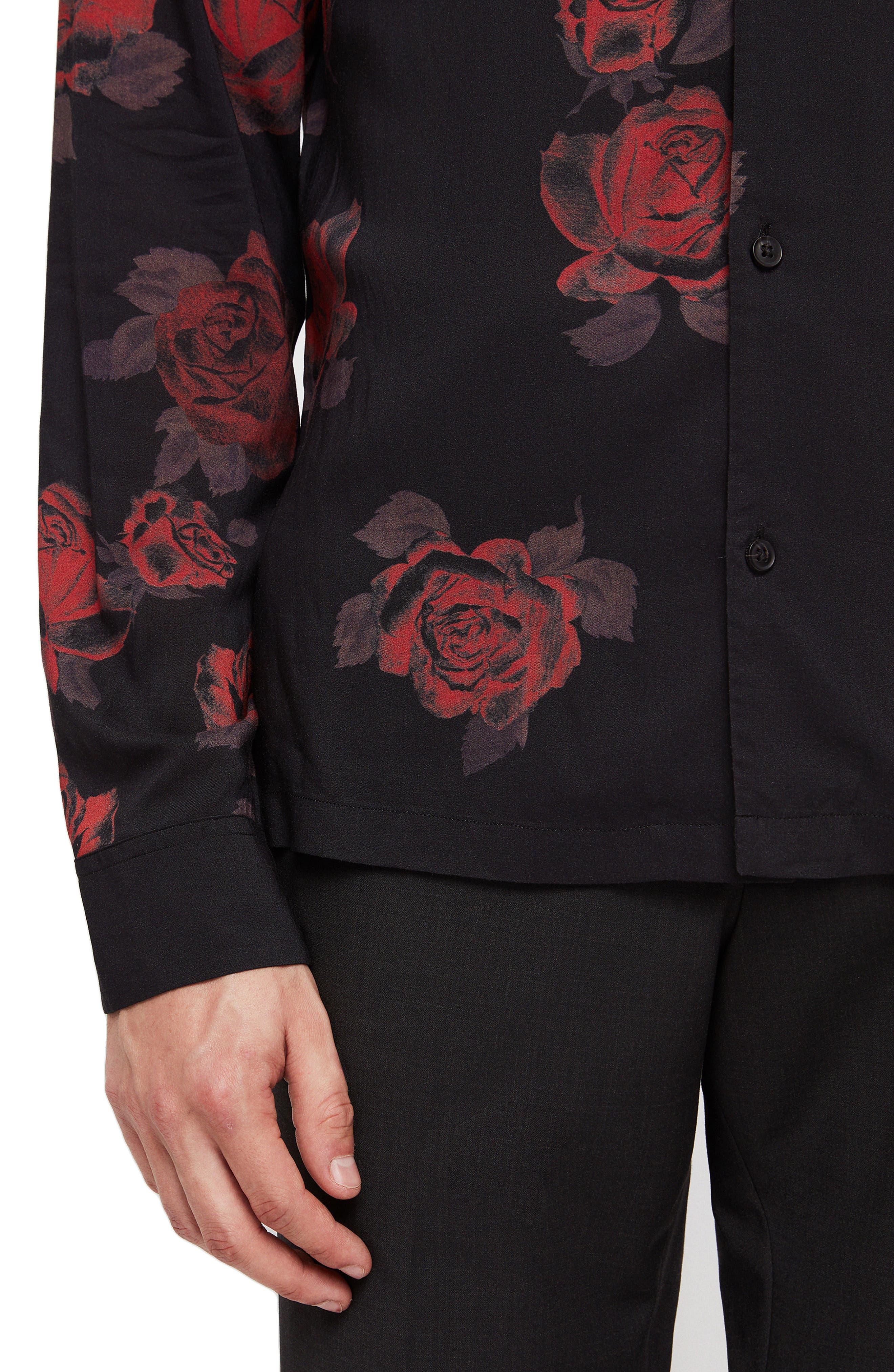 Thorn Revere Collar Sport Shirt,                             Alternate thumbnail 2, color,                             JET BLACK/ RED