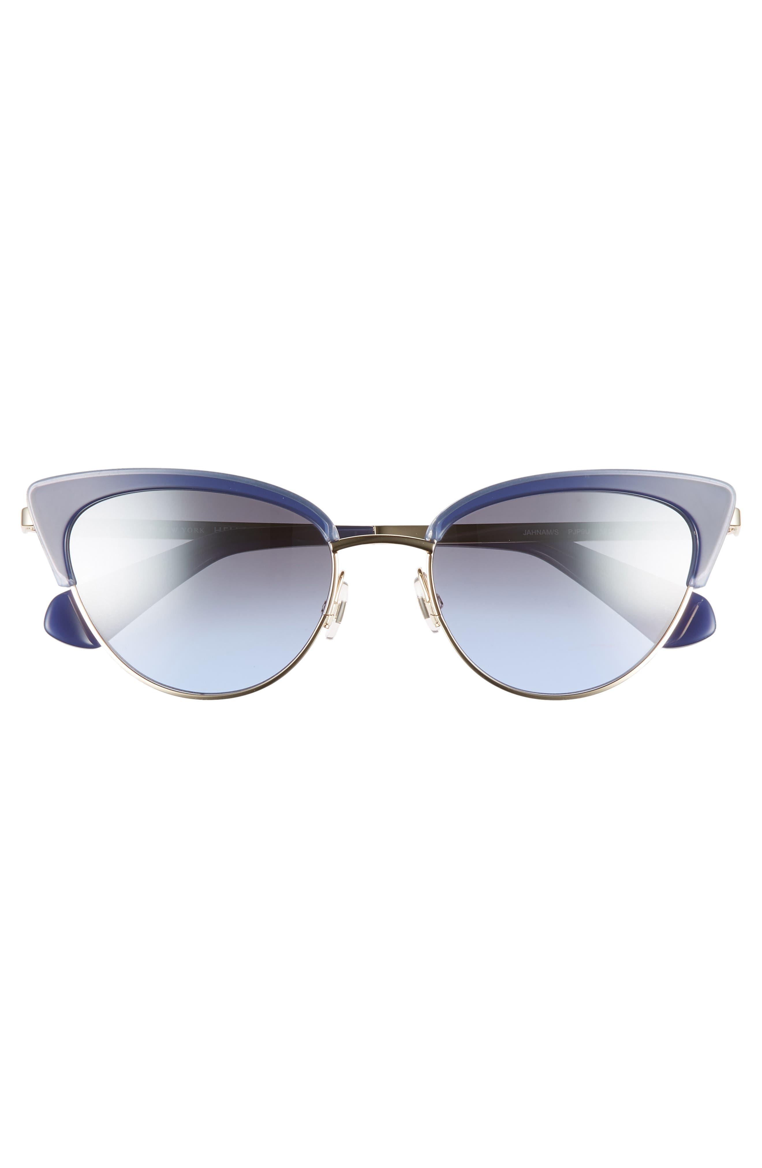 KATE SPADE NEW YORK,                             jahnams 52mm cat eye sunglasses,                             Alternate thumbnail 3, color,                             BLUE