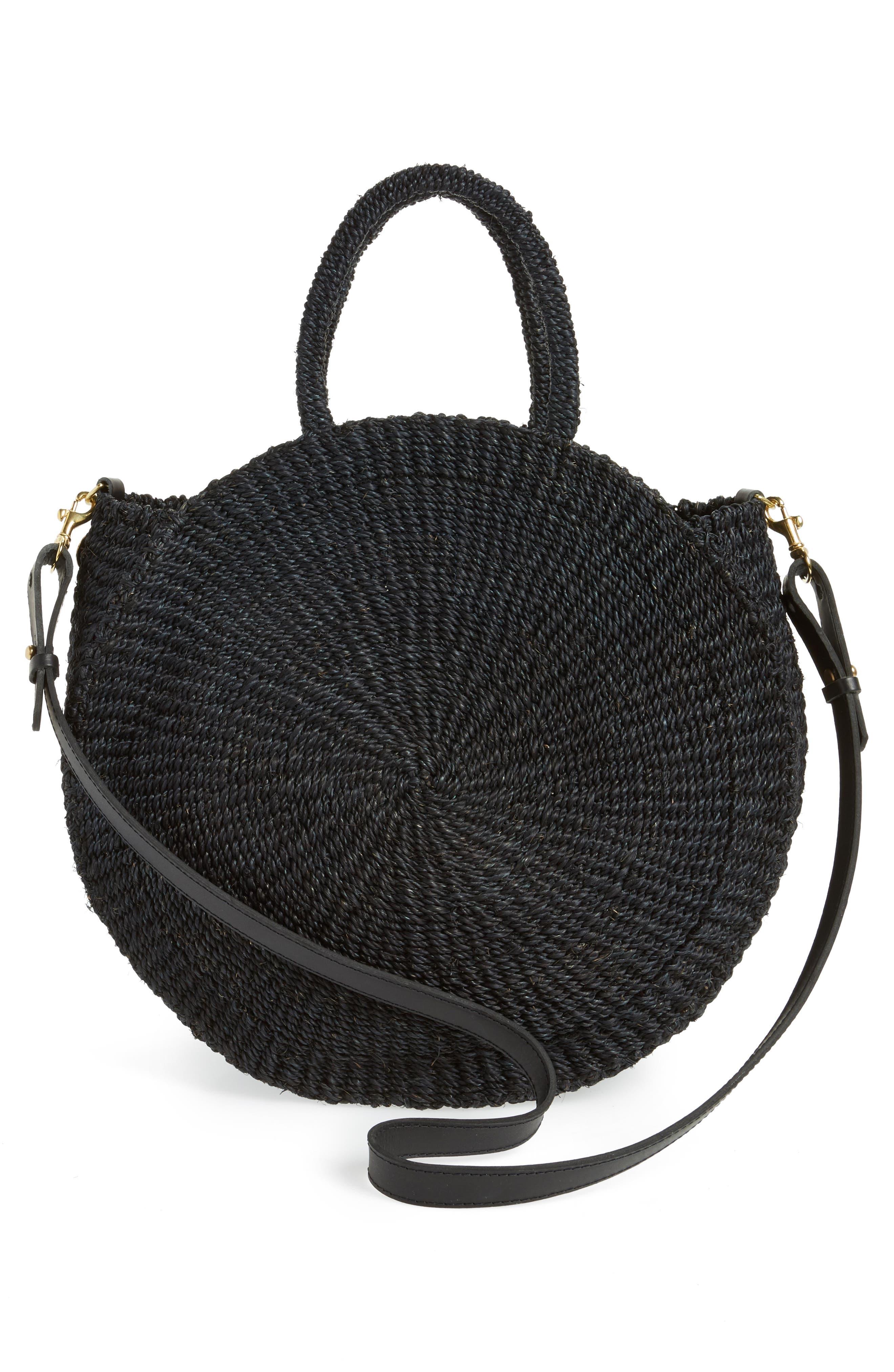 Alice Woven Sisal Straw Bag,                             Alternate thumbnail 3, color,                             BLACK WOVEN