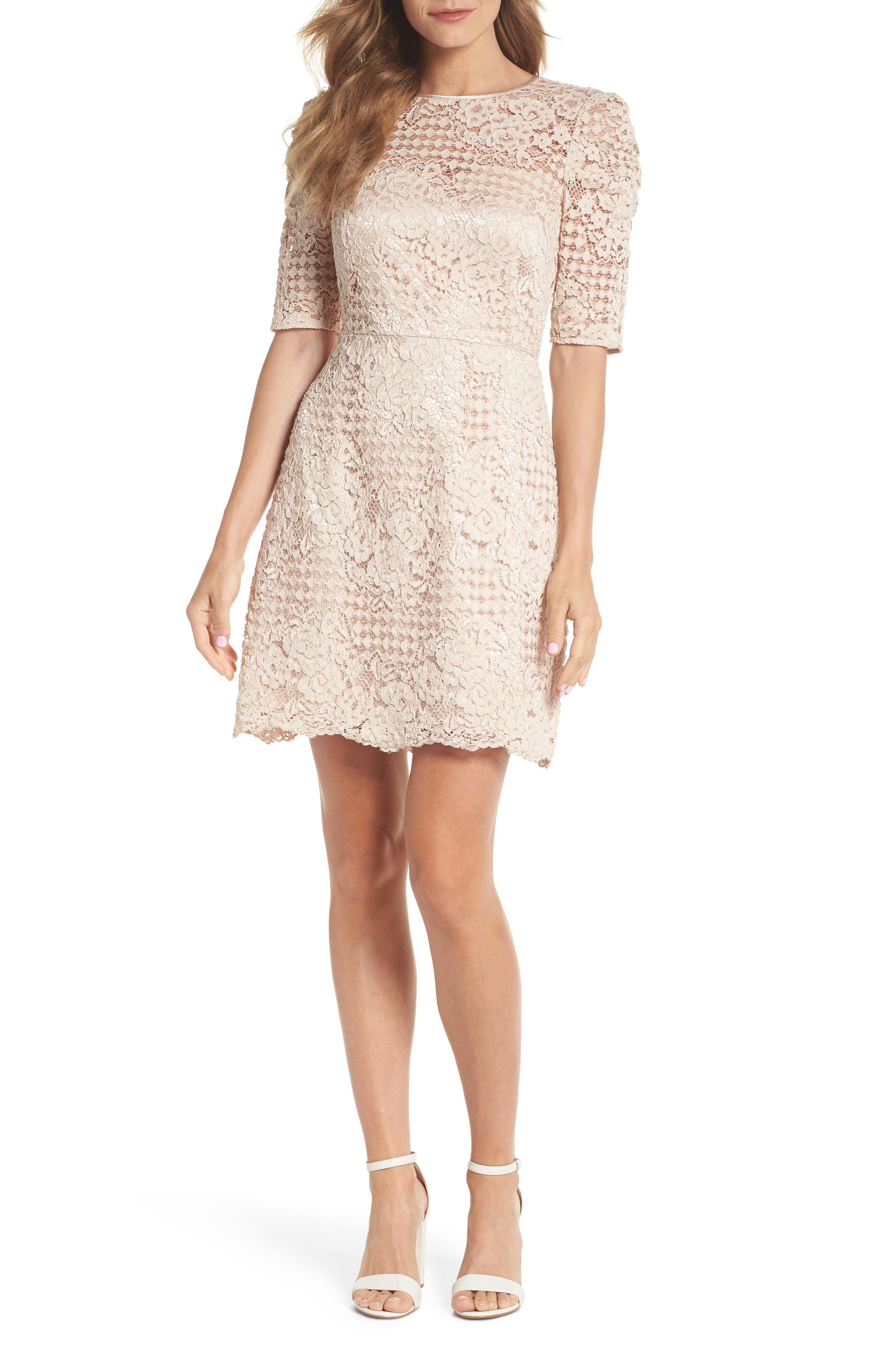 Ruched Sleeve Lace Dress,                         Main,                         color, PINK BLUSH