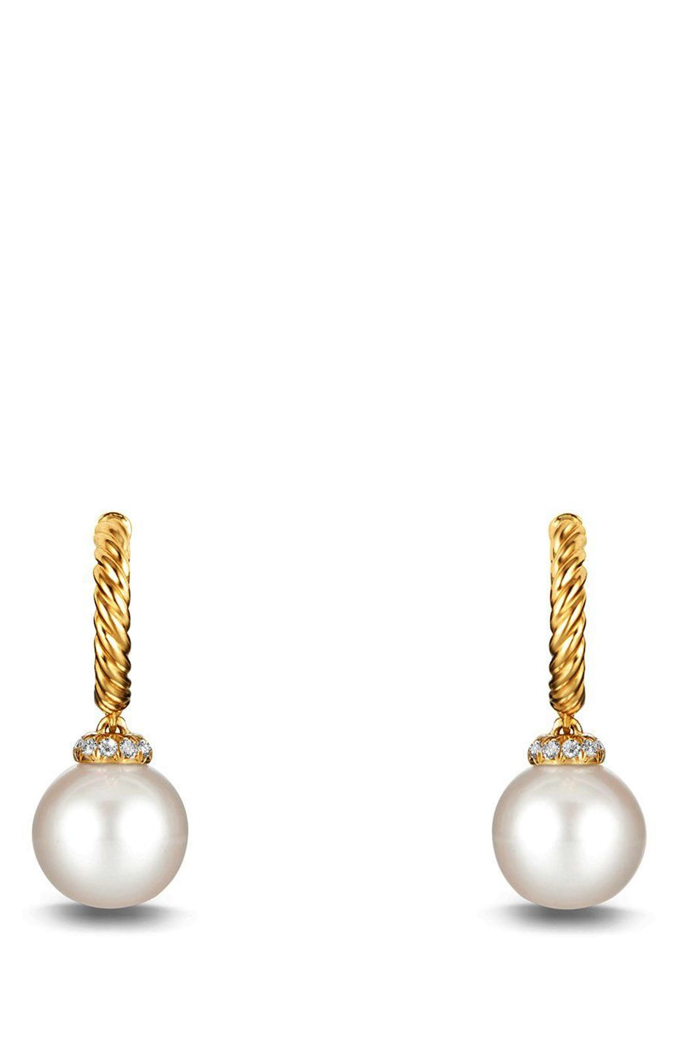 'Solari' Hoop Earring with Diamonds and Pearls in 18K Gold,                             Alternate thumbnail 2, color,                             PEARL