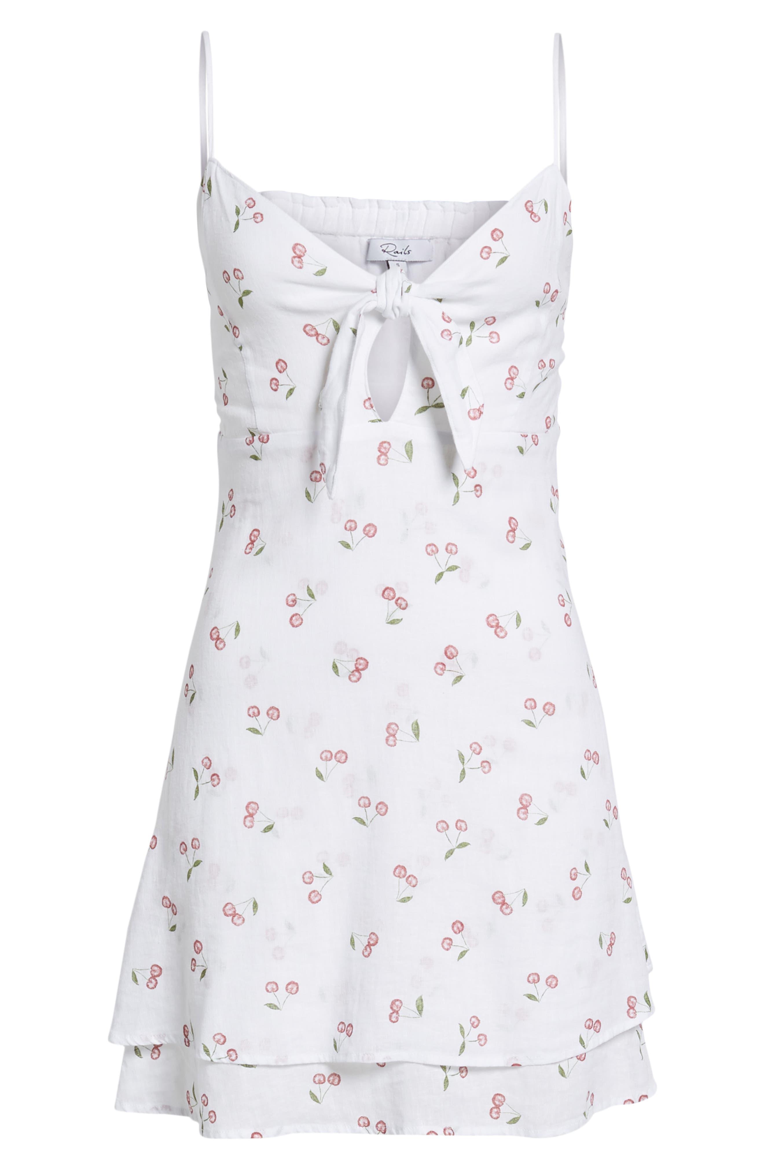 August Daisy Tie Front Dress,                             Alternate thumbnail 7, color,                             WHITE CHERRIES
